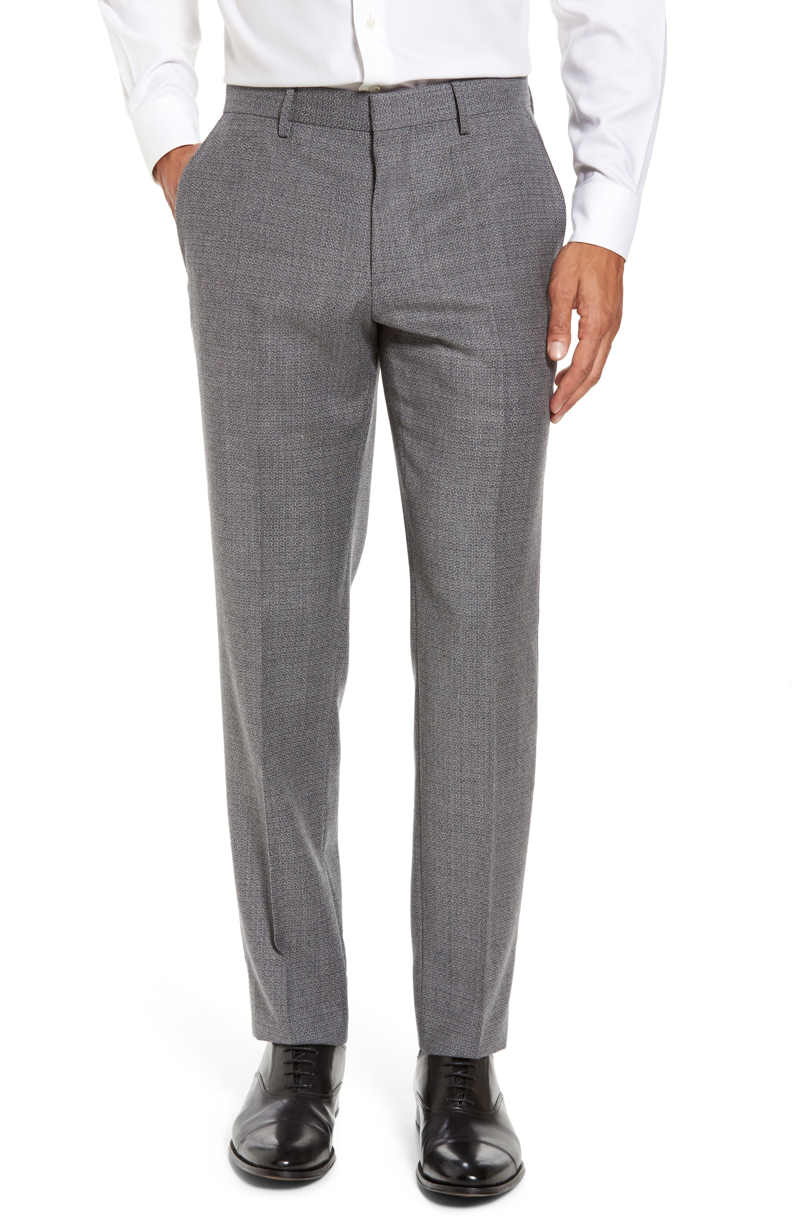 Giro Flat Front Solid Wool Trousers,                         Main,                         color, Medium Grey