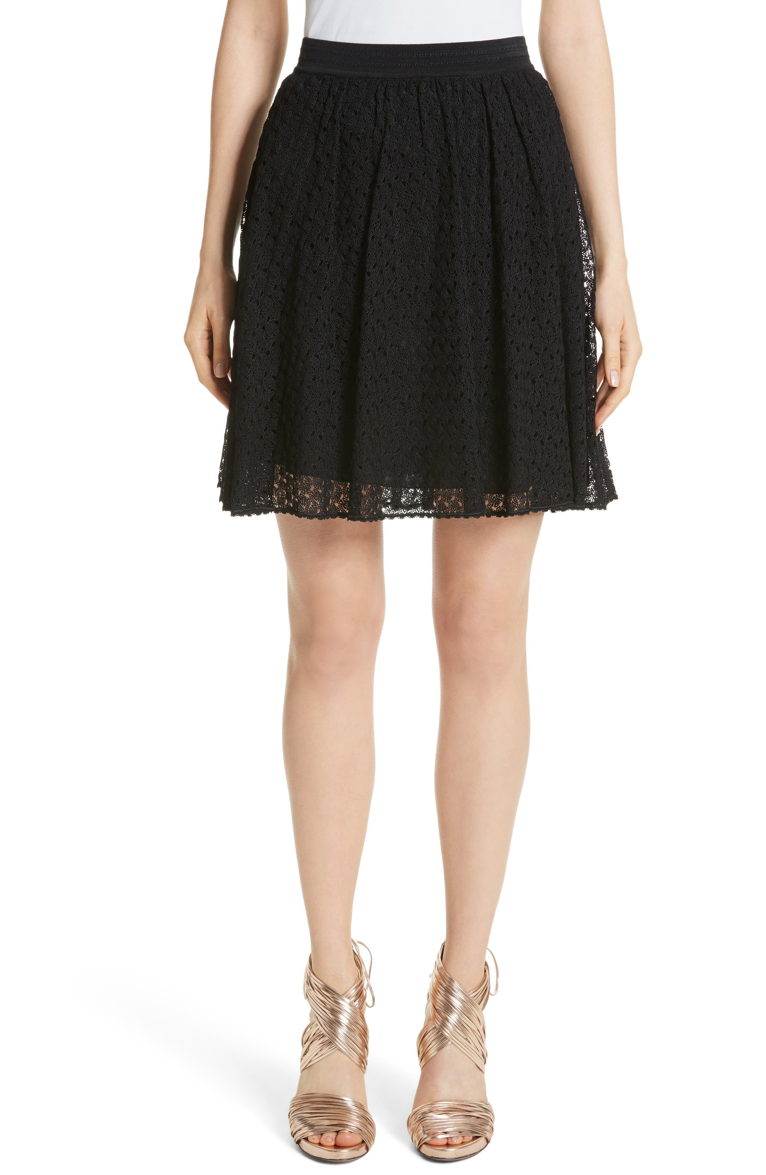 Knit Miniskirt,                         Main,                         color, Black