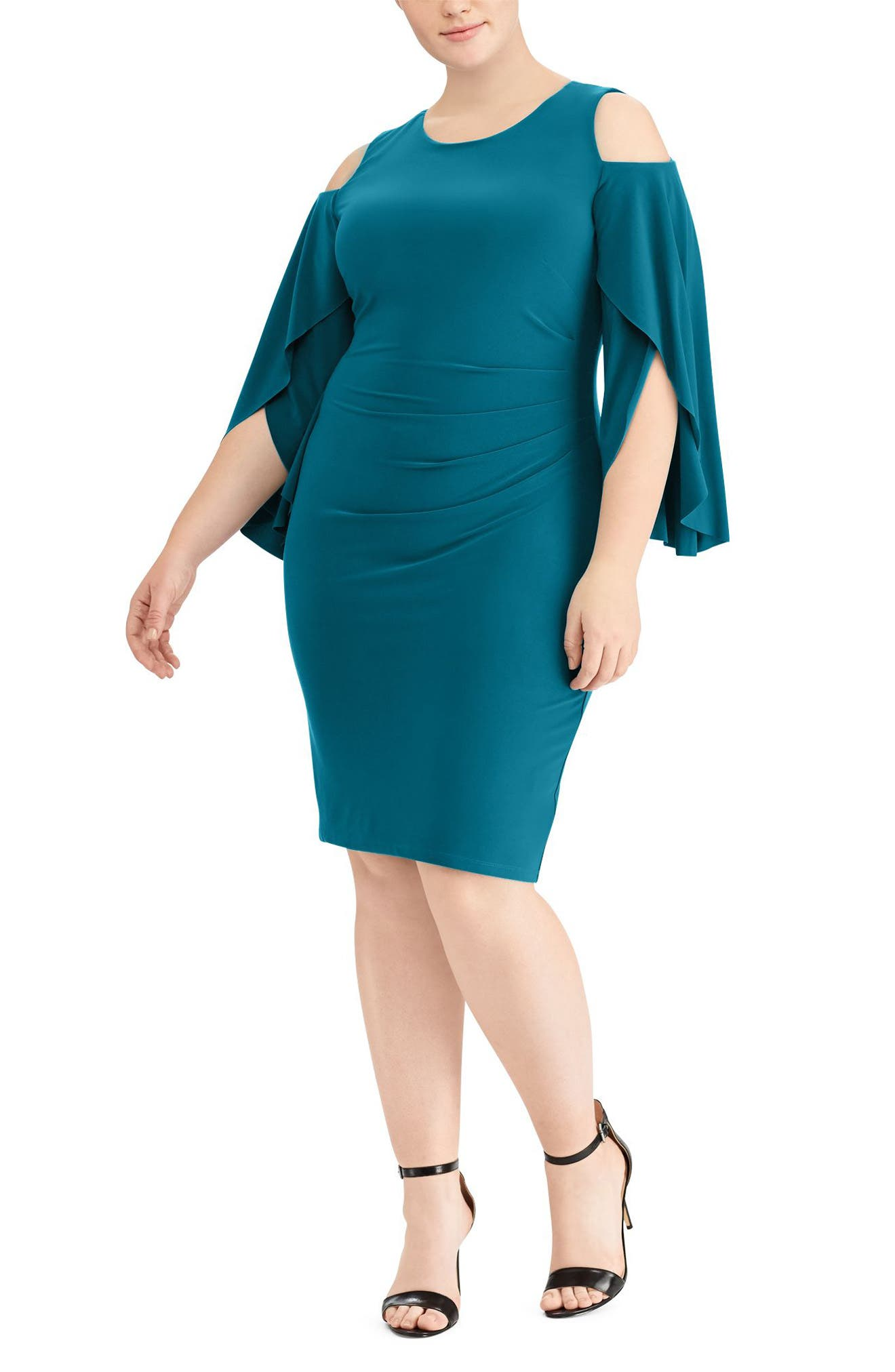 Debbie Cold-Shoulder Dress,                             Main thumbnail 1, color,                             French Teal