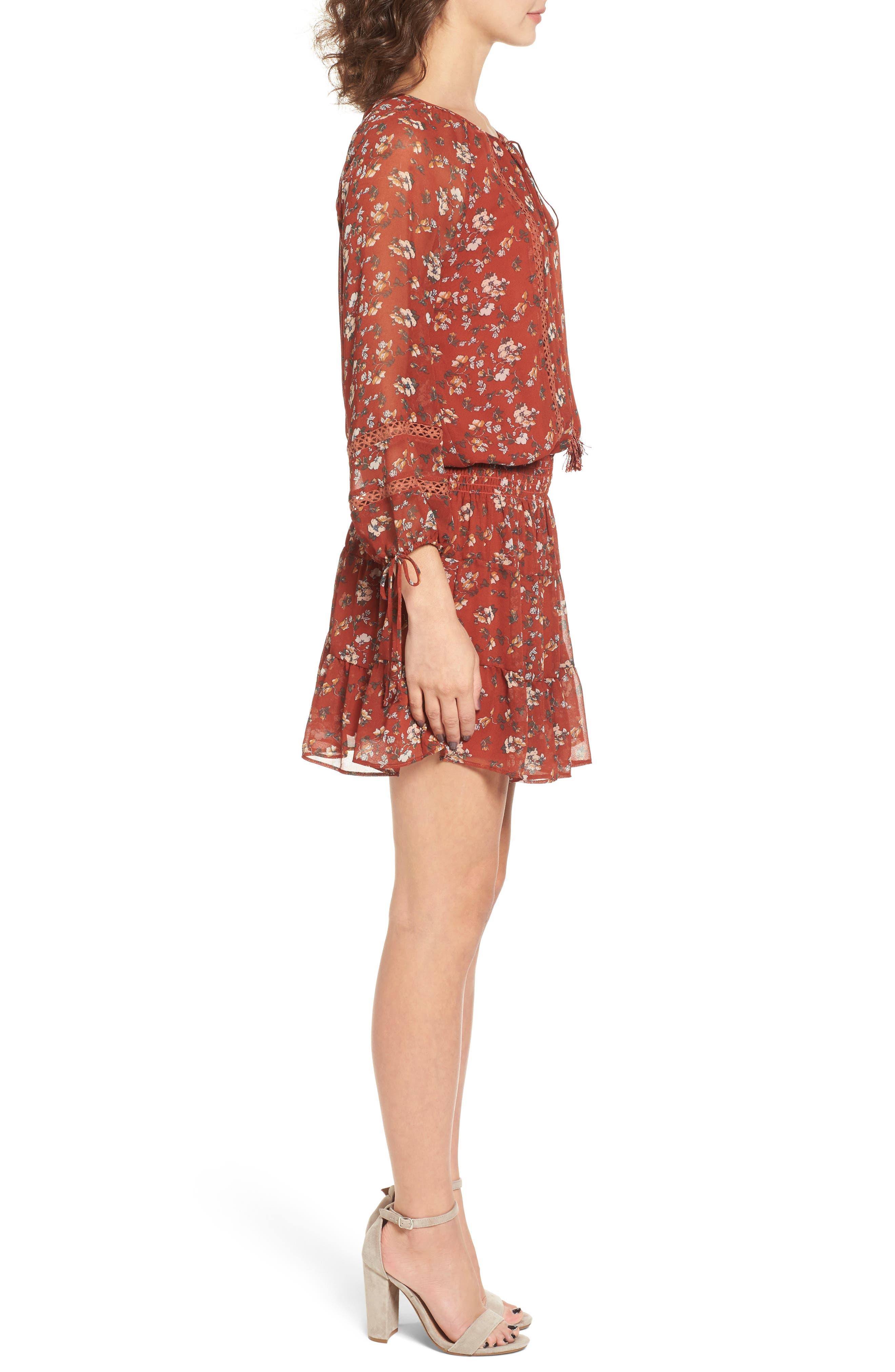 Le Marais Floral Print Dress,                             Alternate thumbnail 3, color,                             Rust