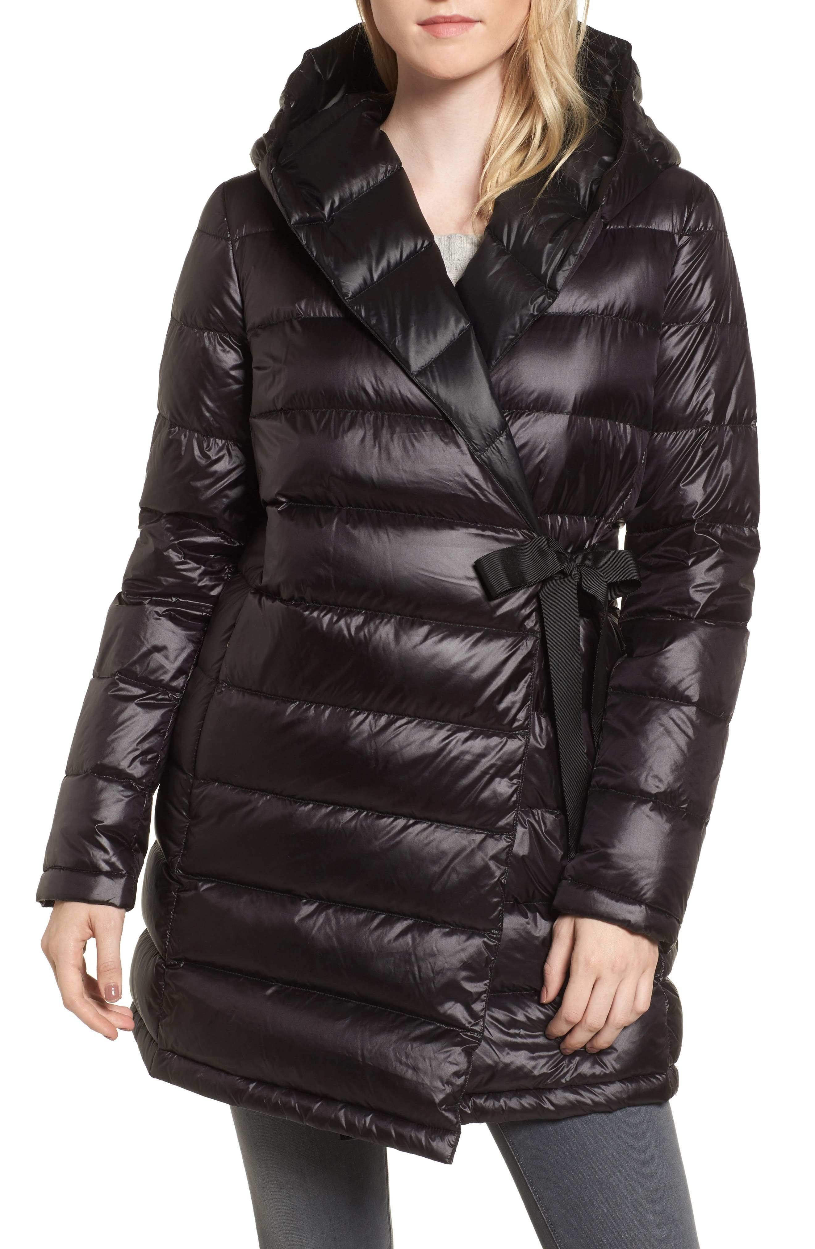 DKNY Water Resistant Packable Down Parka with Tie Closure