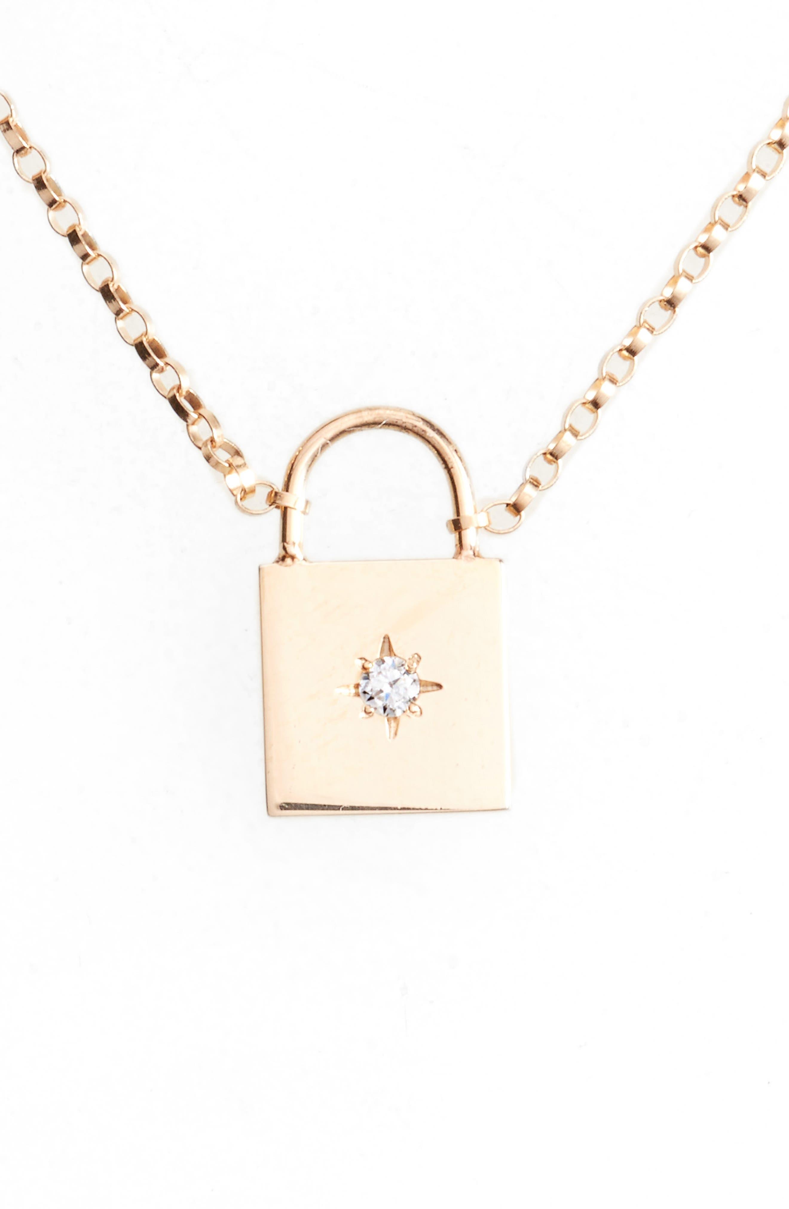 Small Padlock Diamond Pendant Necklace,                         Main,                         color, Yellow Gold