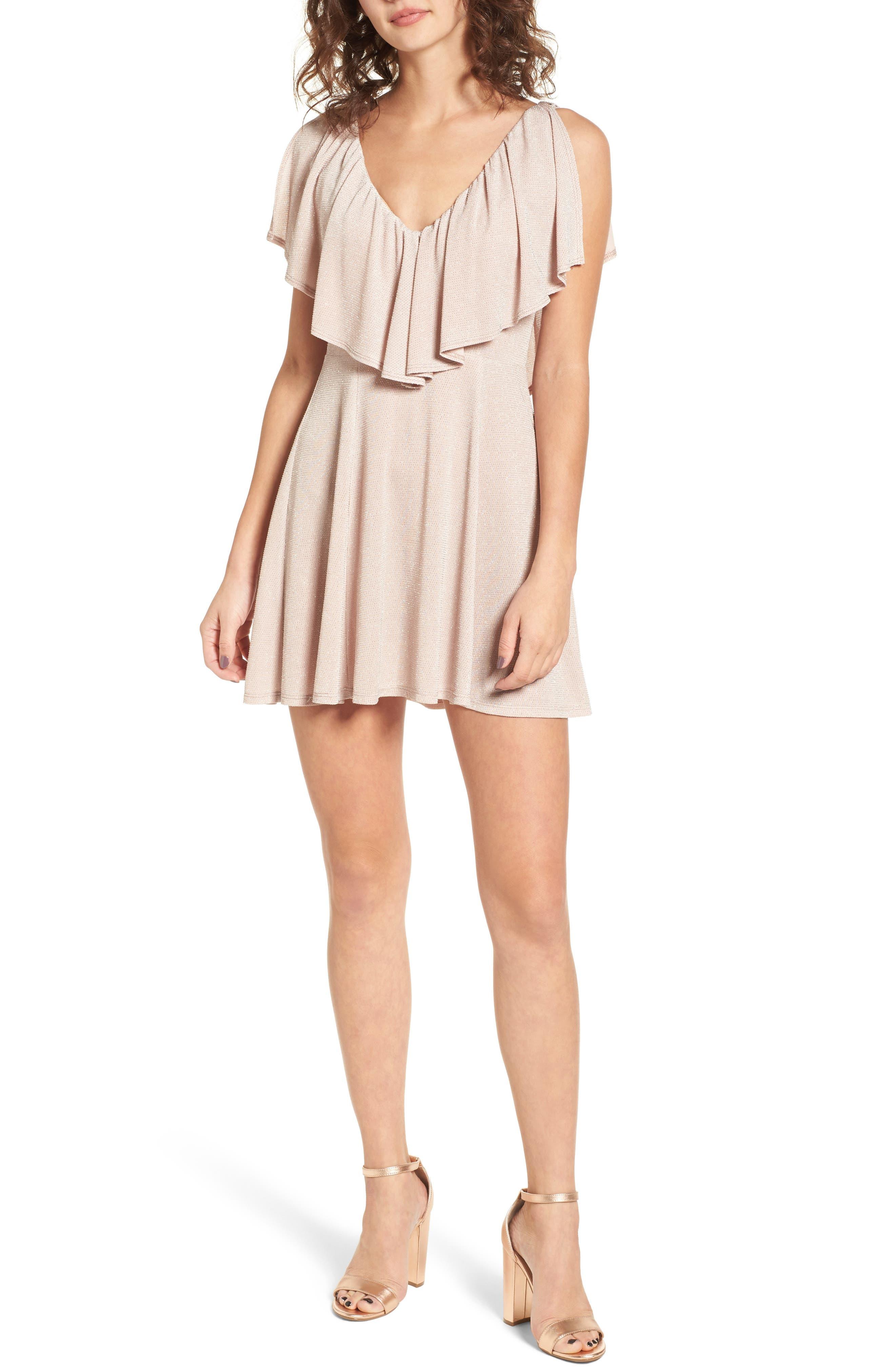 Daphne Ruffle Minidress,                         Main,                         color, Dancing Queen Shine Blush