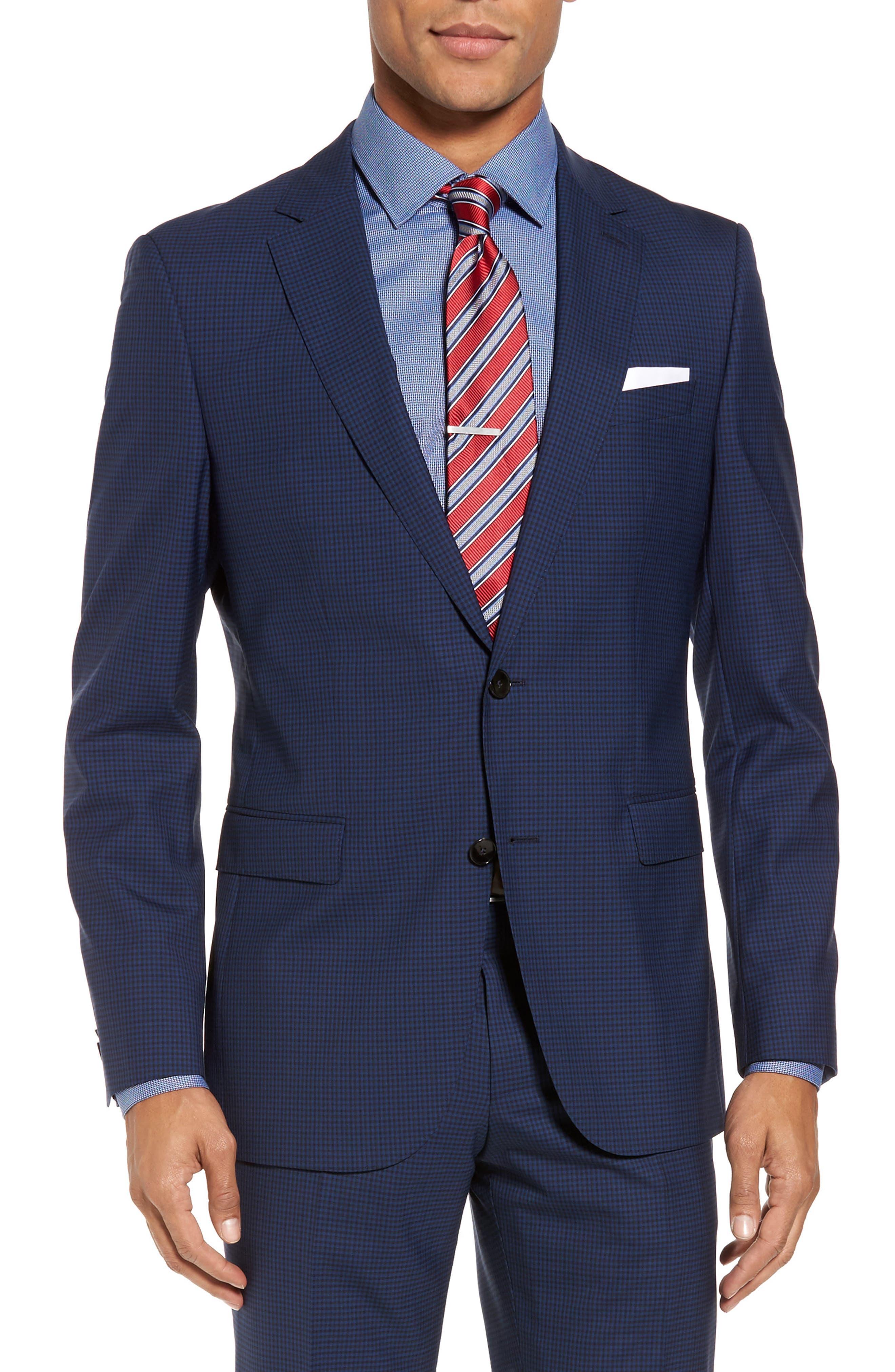 Novan/Ben Trim Fit Check Wool Suit,                             Alternate thumbnail 5, color,                             Dark Blue