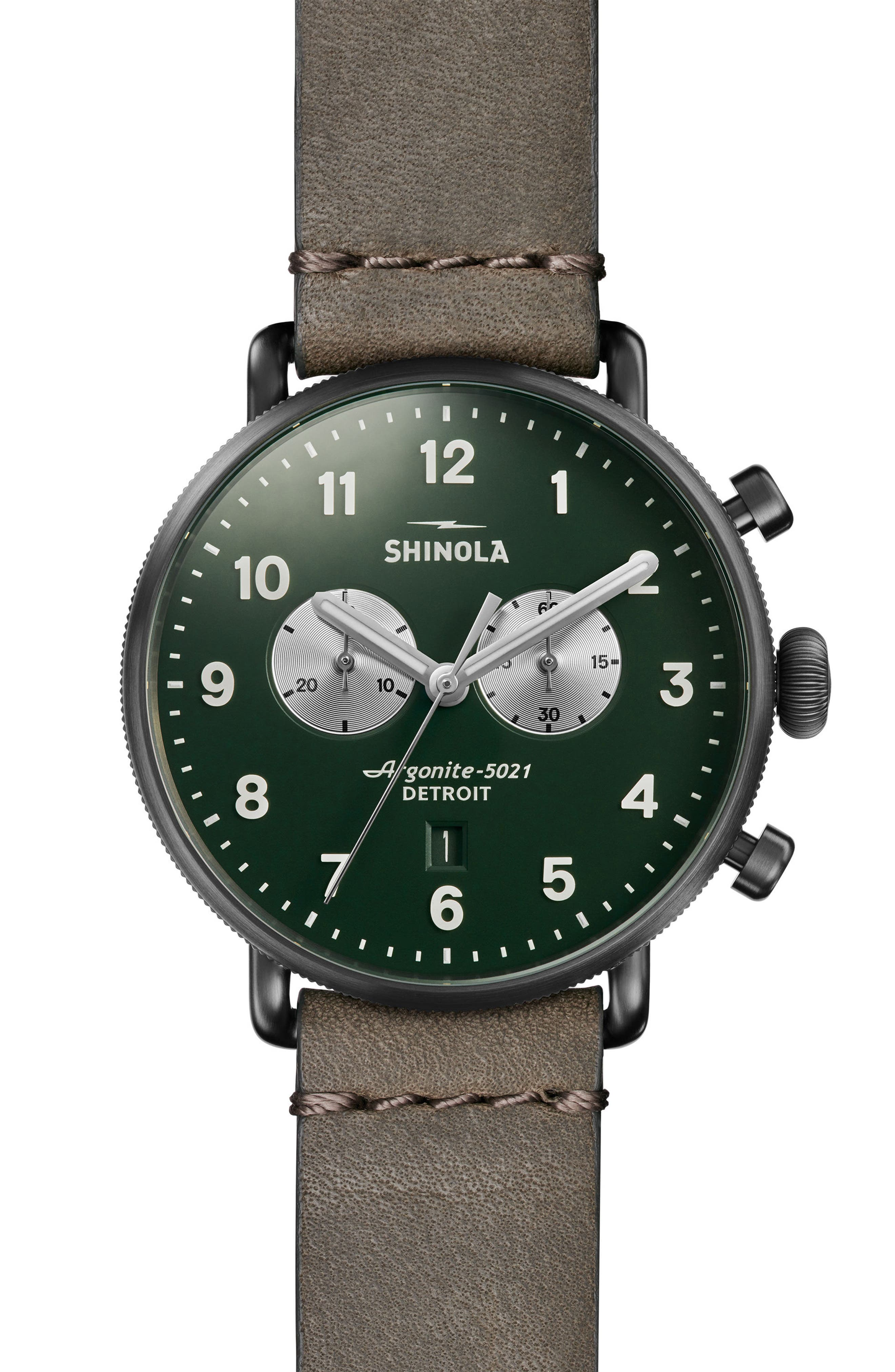 The Canfield Chrono Leather Strap Watch, 43mm,                         Main,                         color, Grey/ Pine/ Silver