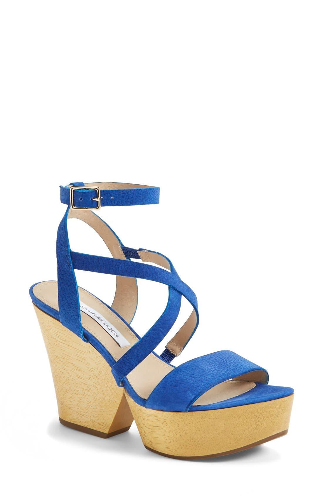 'Lamille' Leather Platform Wedge Sandal,                         Main,                         color, Blue Riviera
