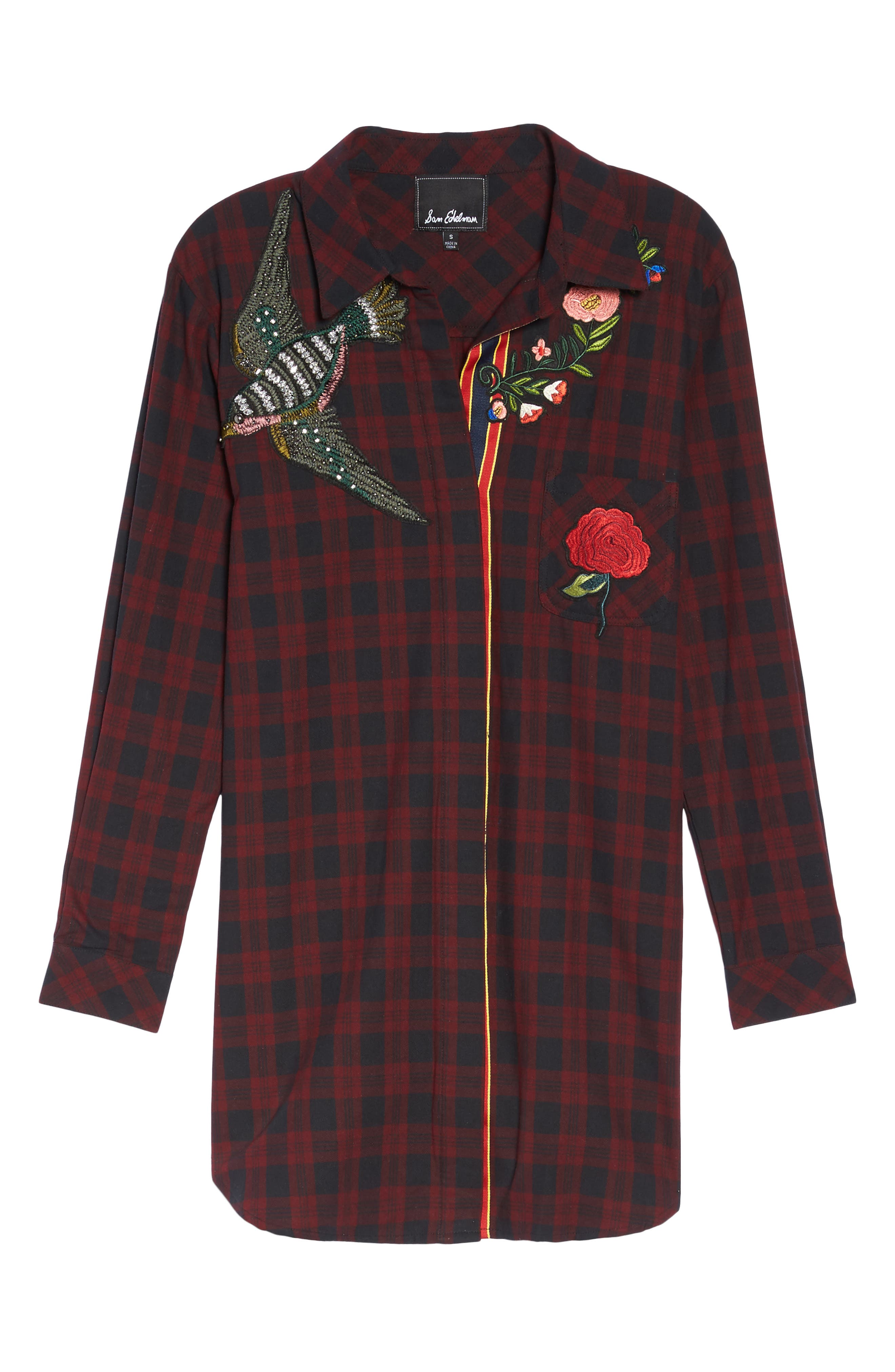 Alternate Image 4  - Sam Edelman Patch Embellished Plaid Sleep Shirt