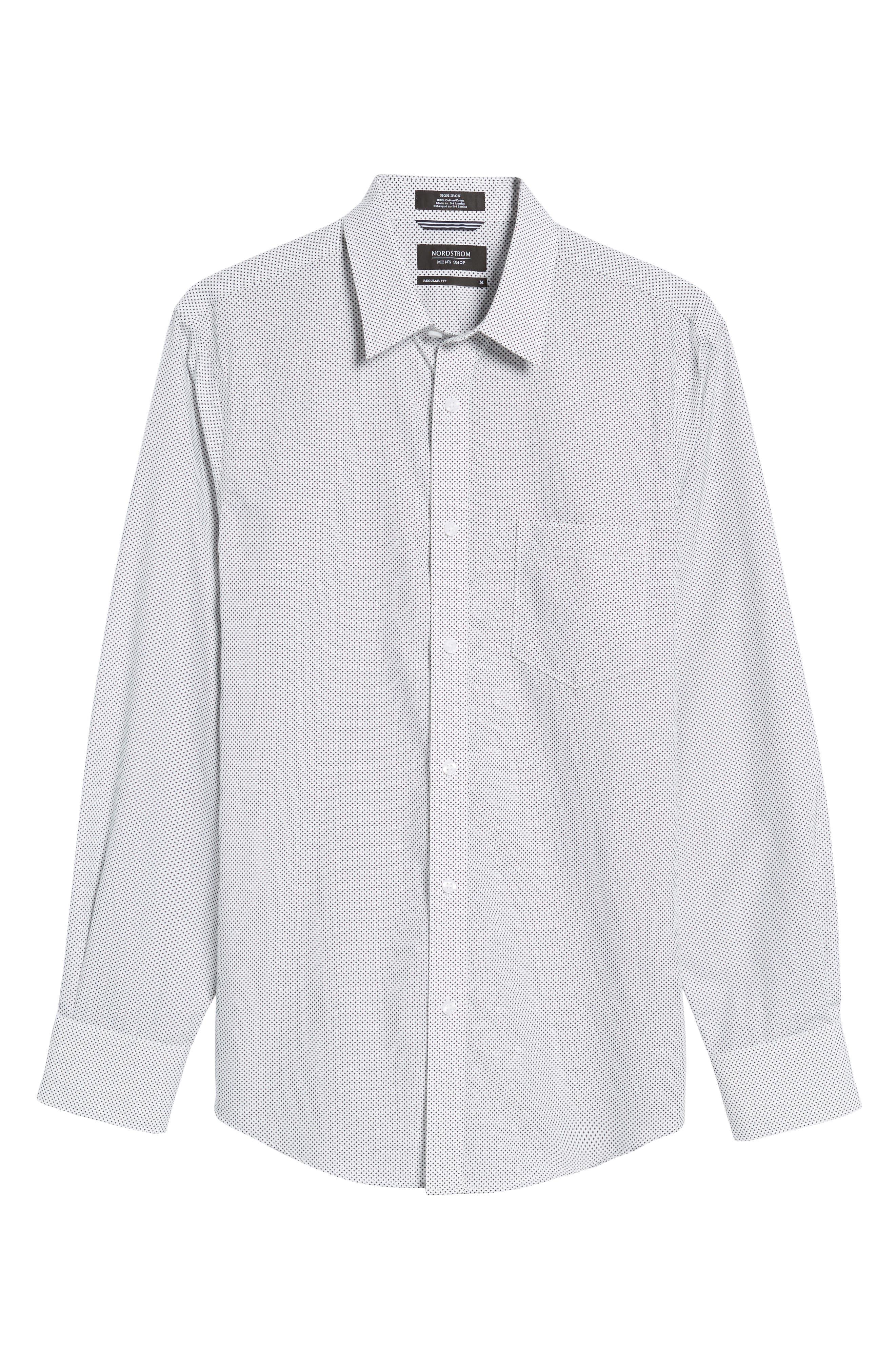 Regular Fit Non-Iron Print Sport Shirt,                             Alternate thumbnail 6, color,                             Black White Mini Cross
