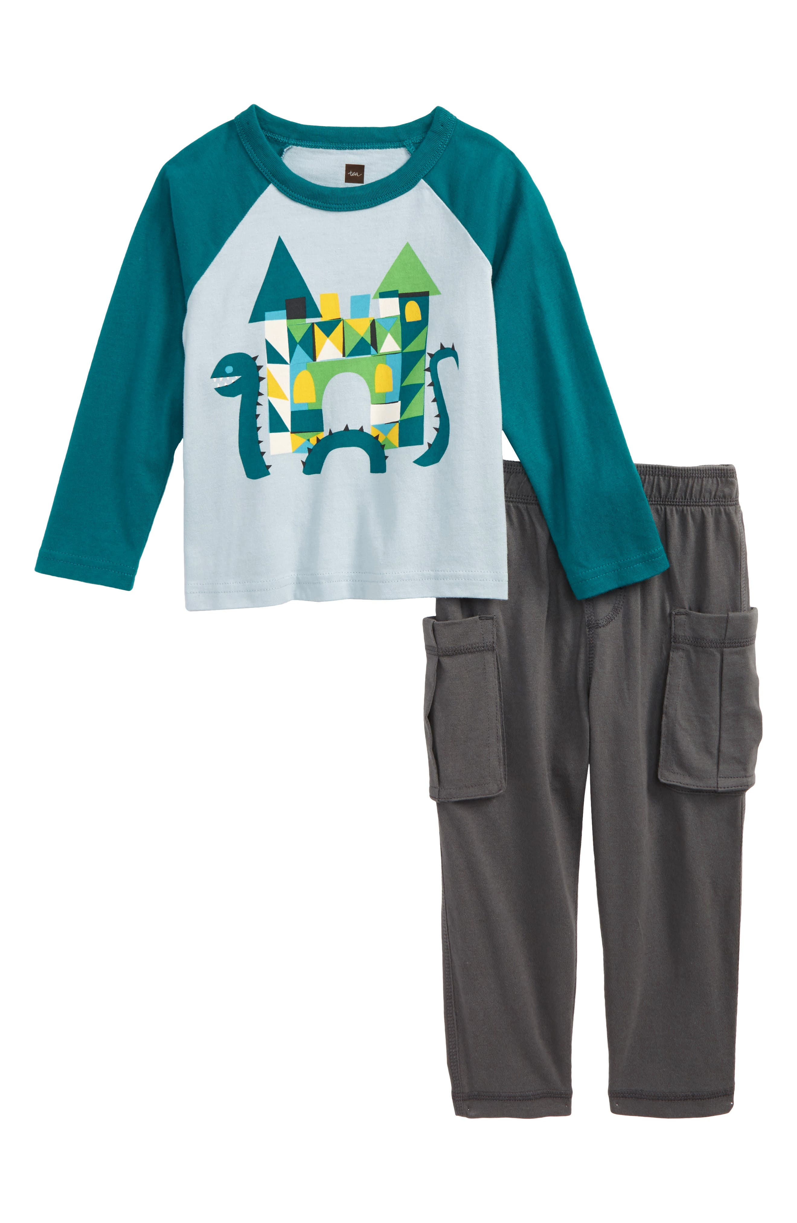 Main Image - Tea Collection Loch Ness T-Shirt & Cargo Pants Set (Baby Boys)