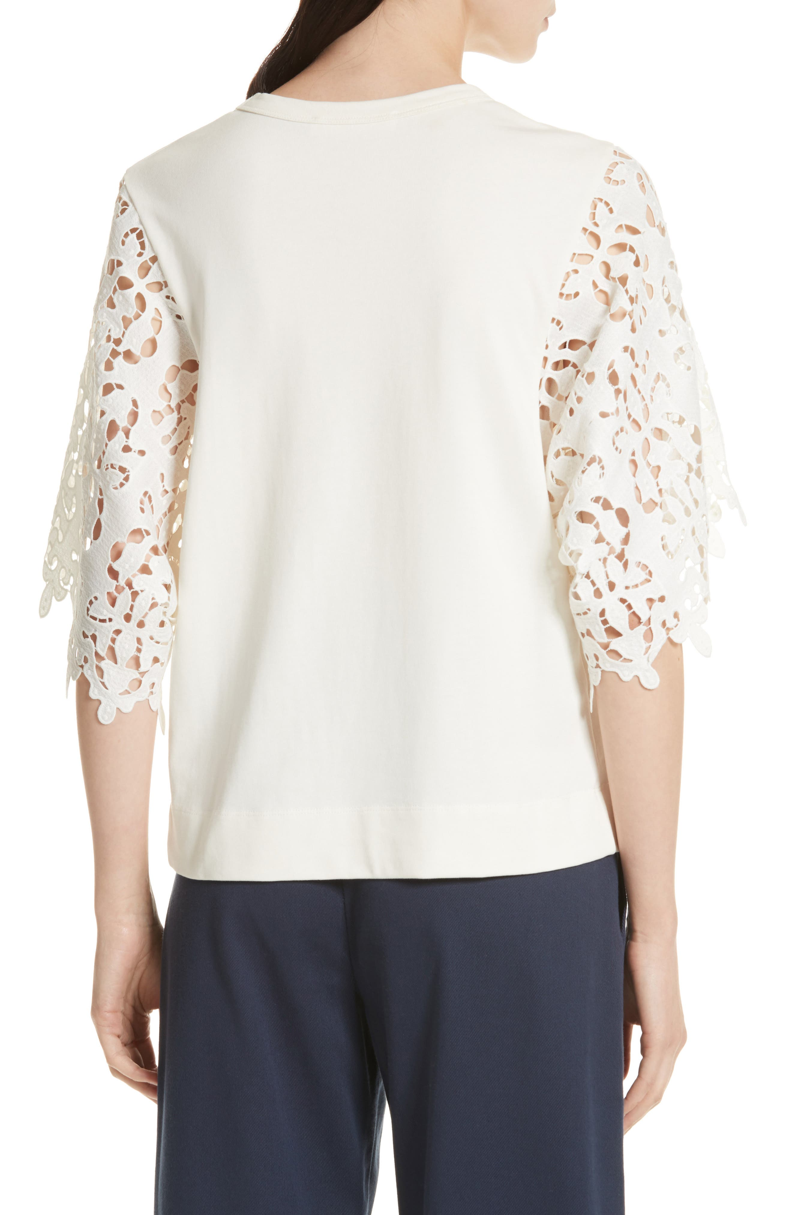Lace Sleeve Top,                             Alternate thumbnail 2, color,                             Ivory