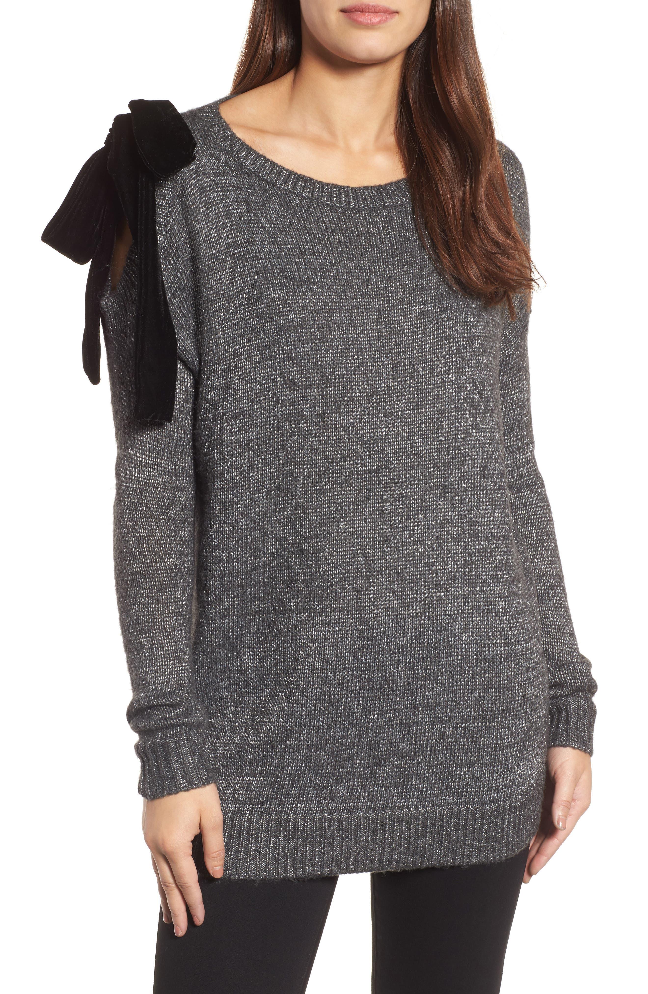 Halogen® Velvet Bow Sweater