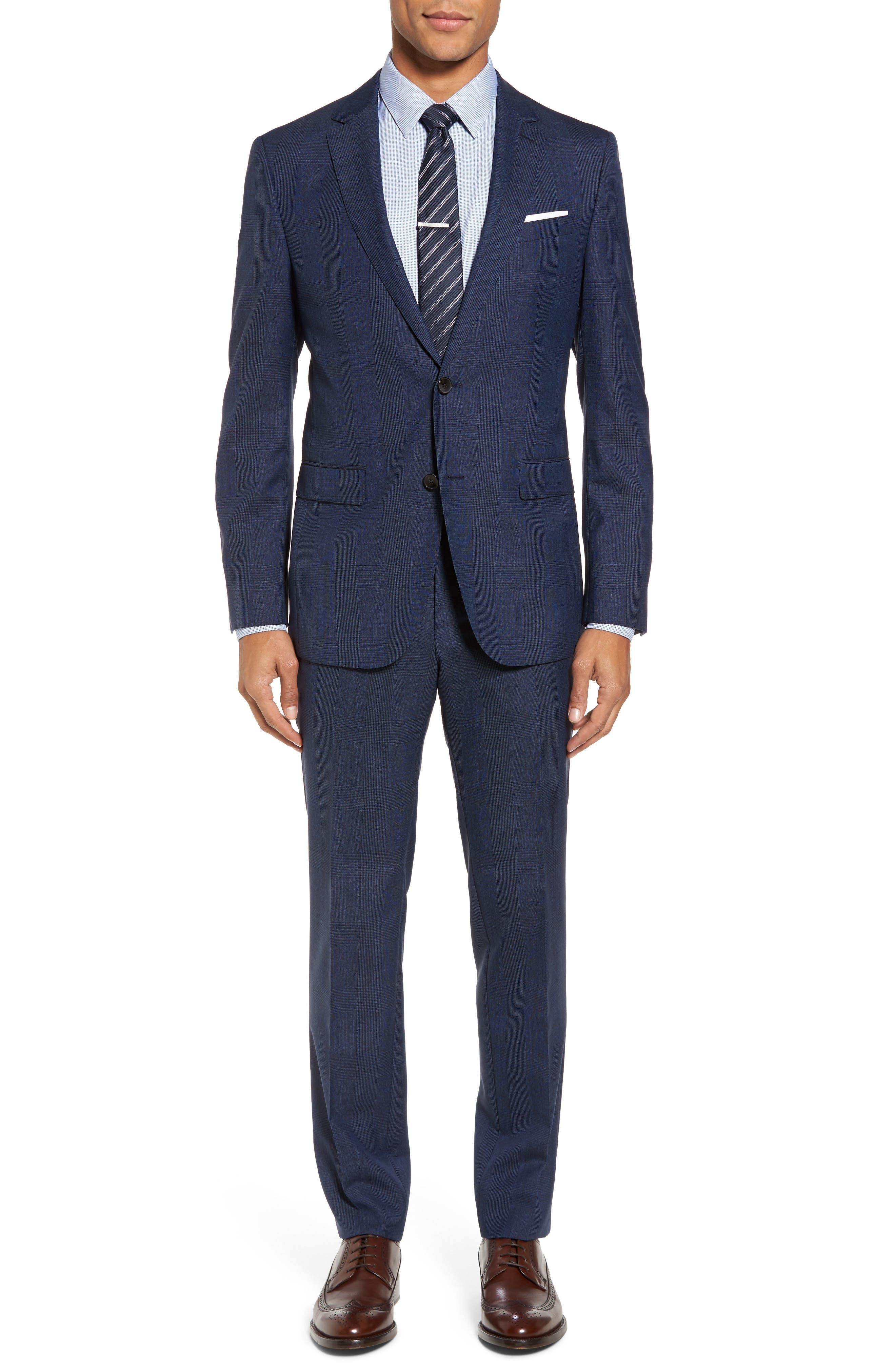 Novan/Ben Trim Fit Plaid Wool Suit,                         Main,                         color, Medium Blue
