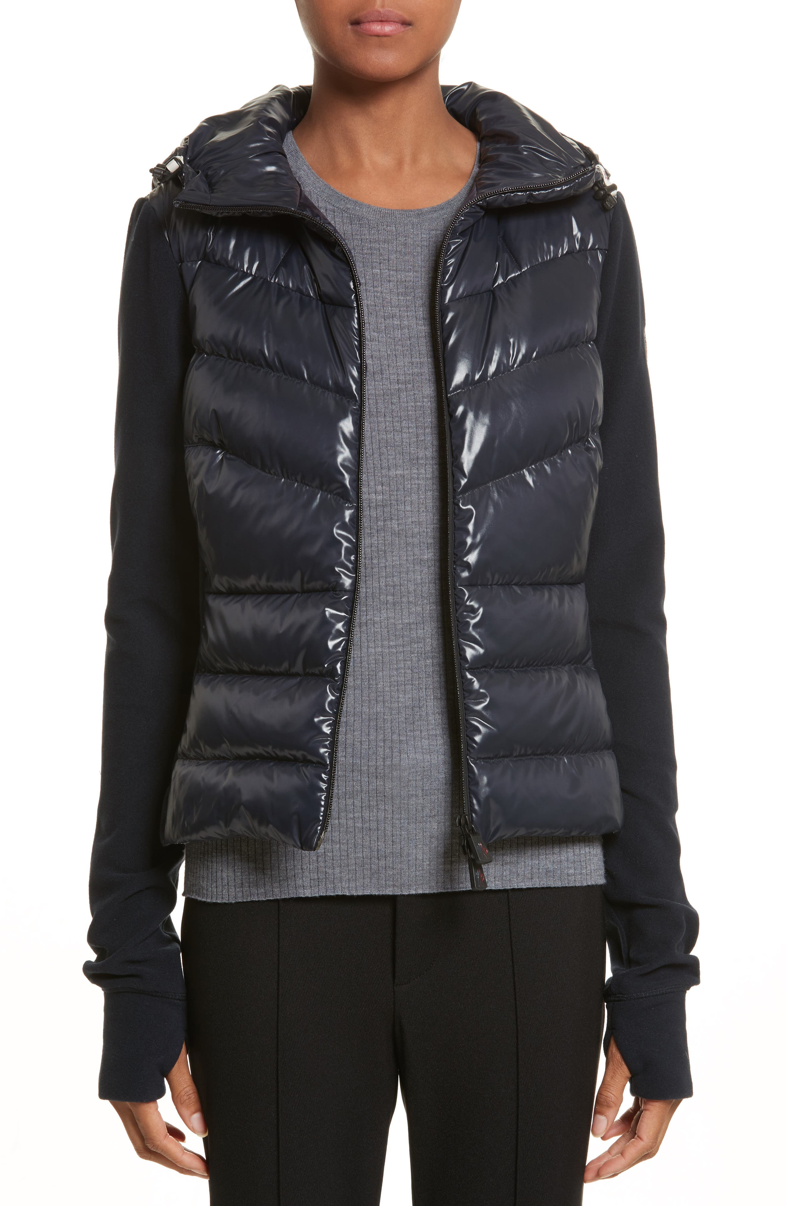 Quilted Front Hooded Jacket,                         Main,                         color, Navy