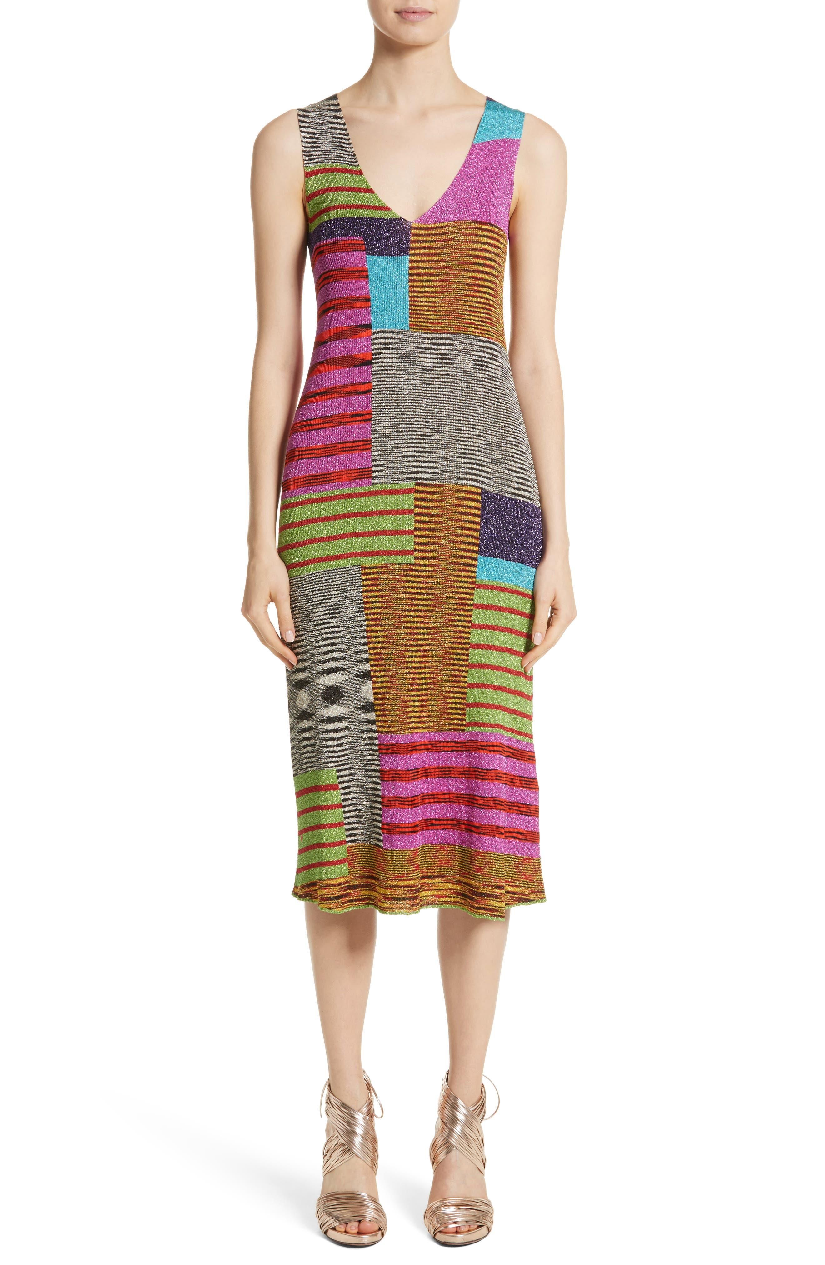 Metallic Patchwork Stripe Knit Dress,                             Main thumbnail 1, color,                             Multi