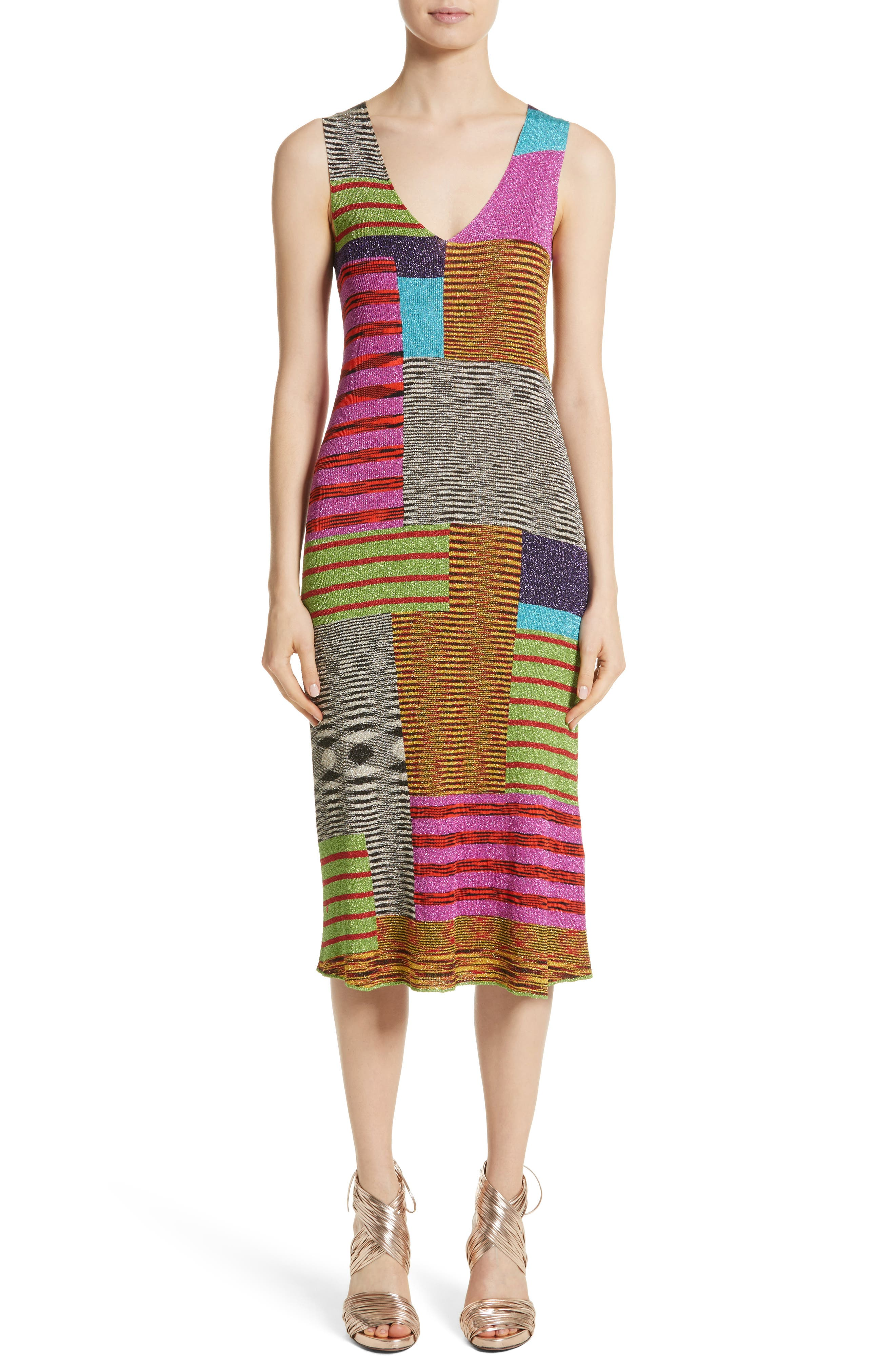 Metallic Patchwork Stripe Knit Dress,                         Main,                         color, Multi
