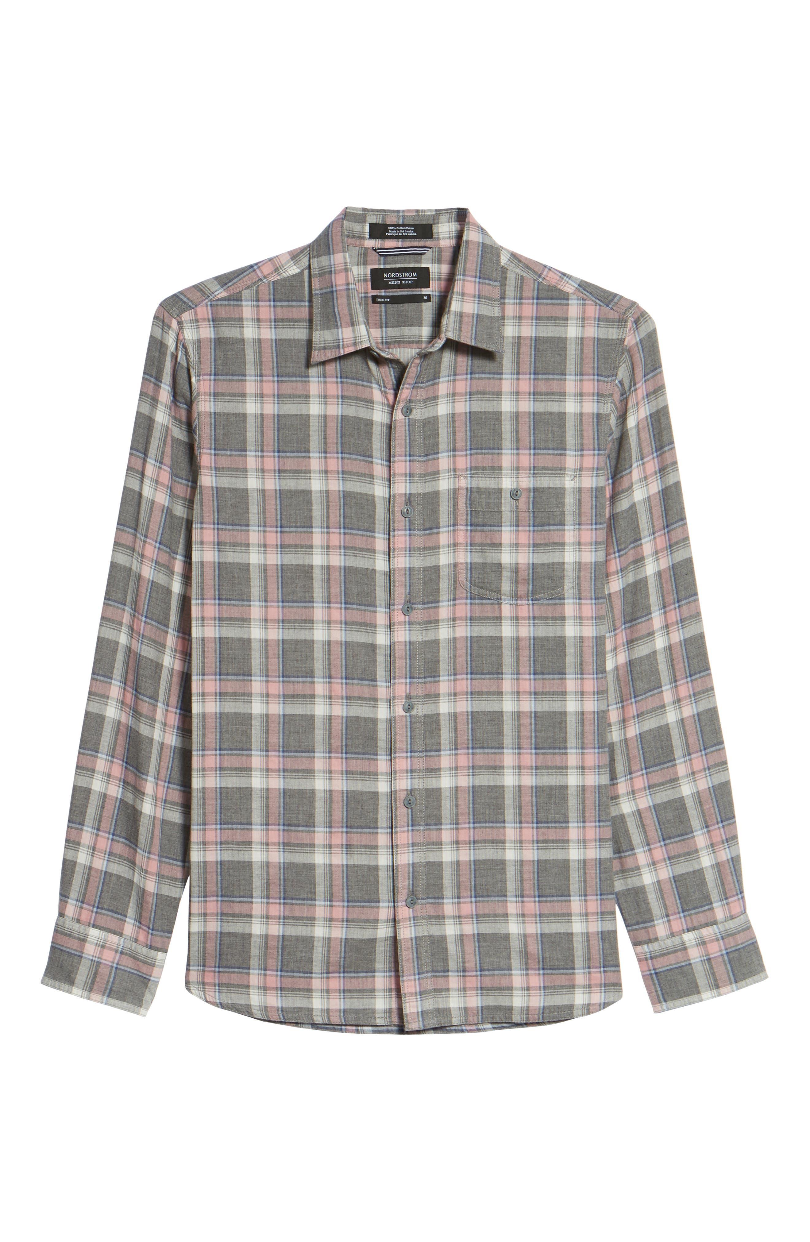 Trim Fit Utility Duofold Sport Shirt,                             Alternate thumbnail 6, color,                             Grey Paloma Pink Plaid Duofold