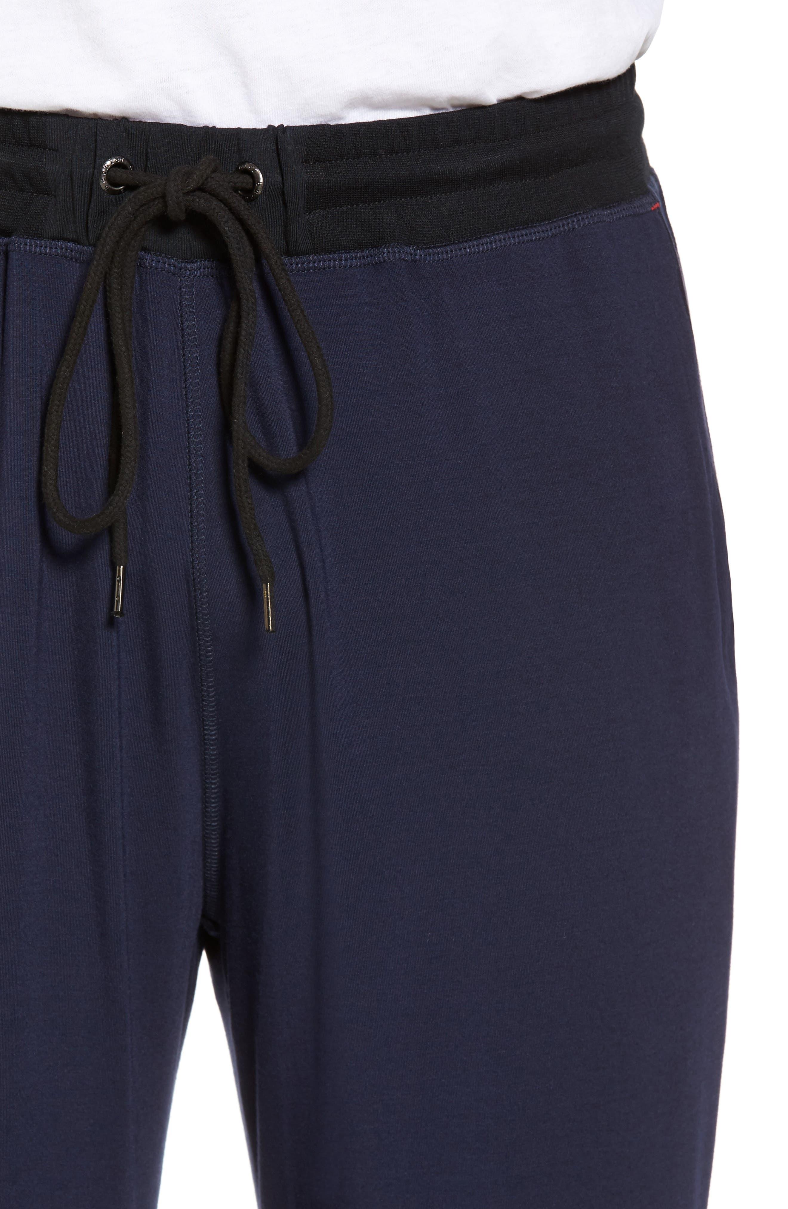 Modal & Silk Lounge Pants,                             Alternate thumbnail 4, color,                             Ink