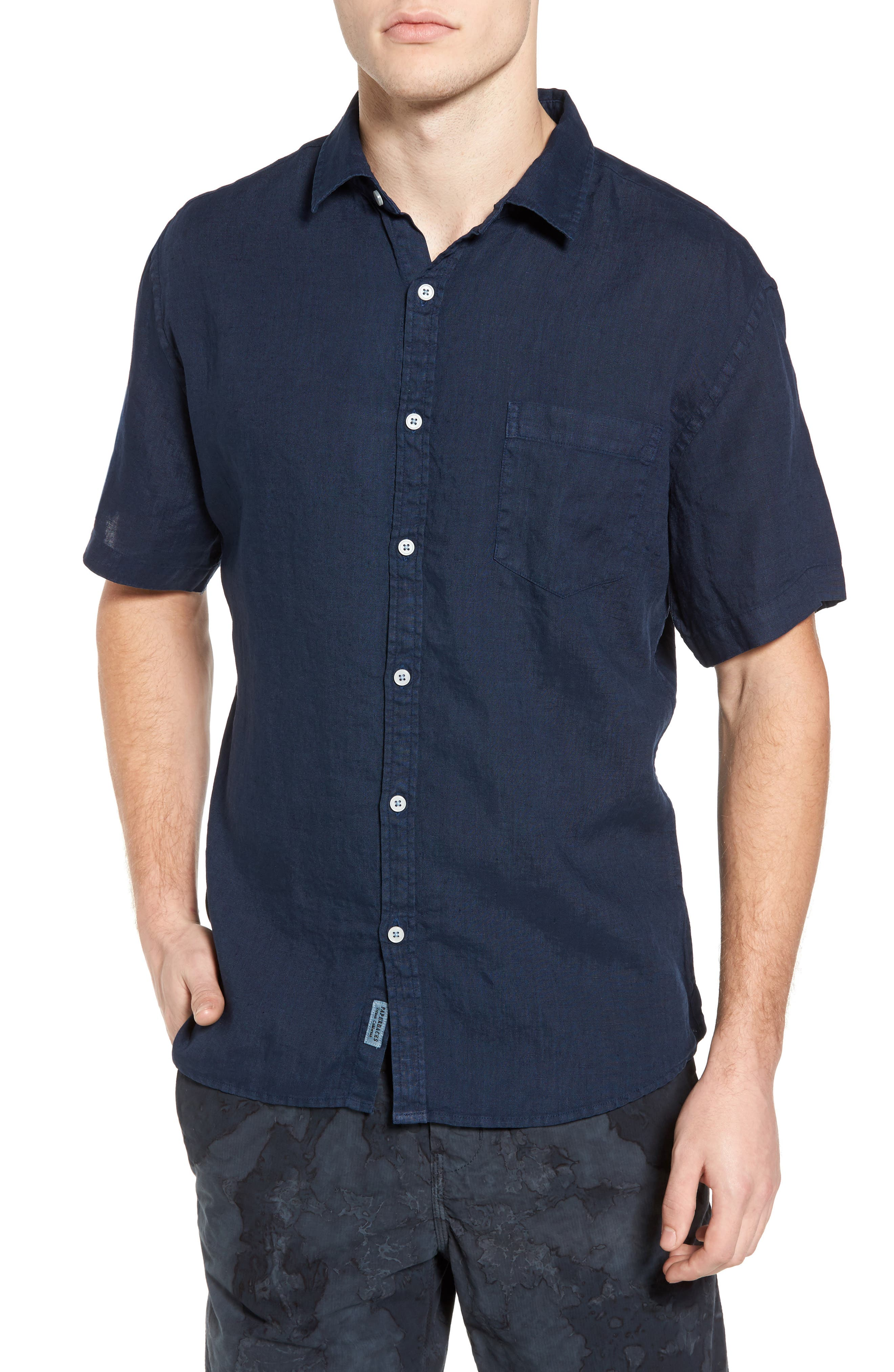 Main Image - Original Paperbacks Rome Trim Fit Linen Sport Shirt