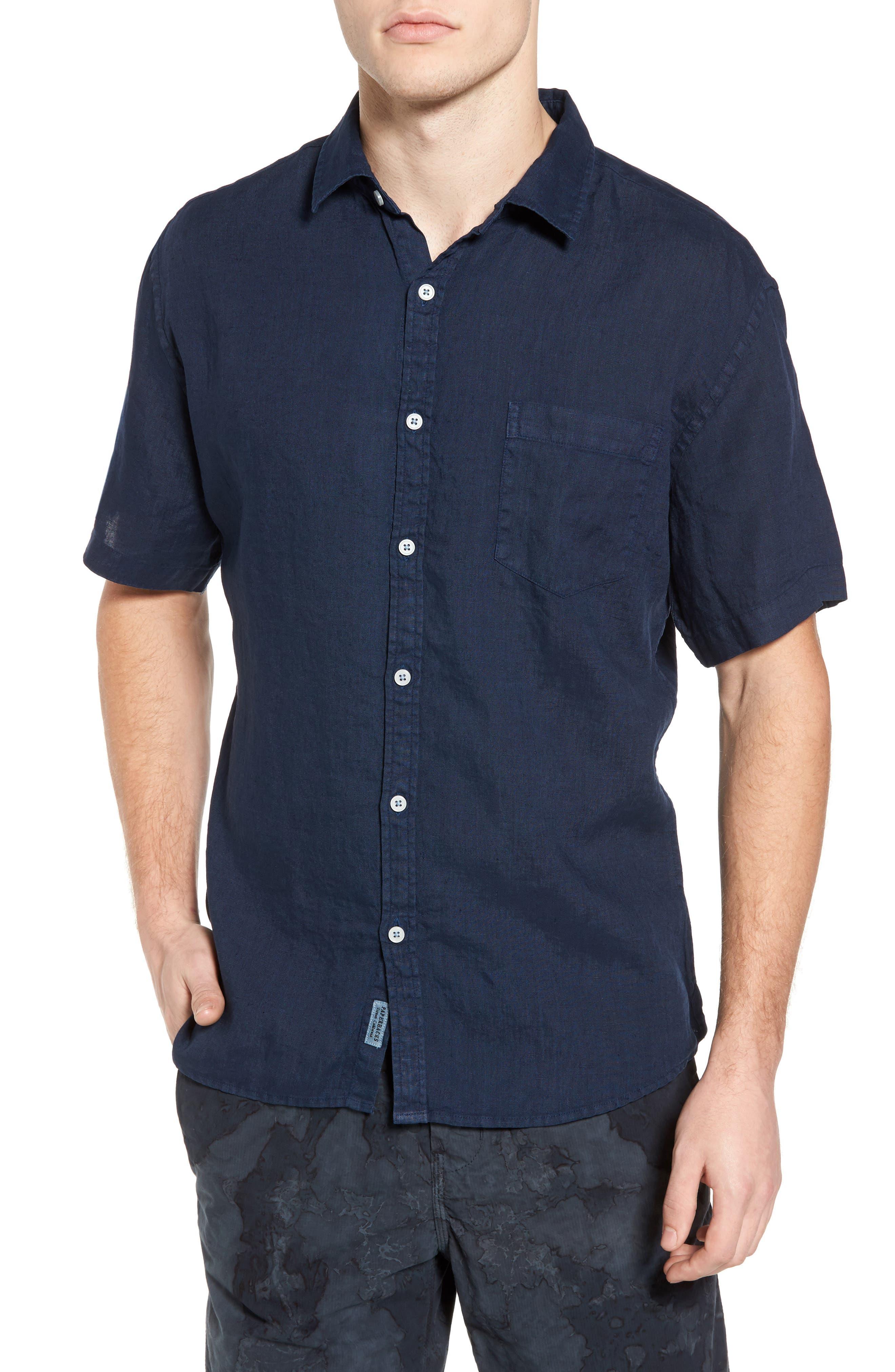 Rome Trim Fit Linen Sport Shirt,                         Main,                         color, Navy