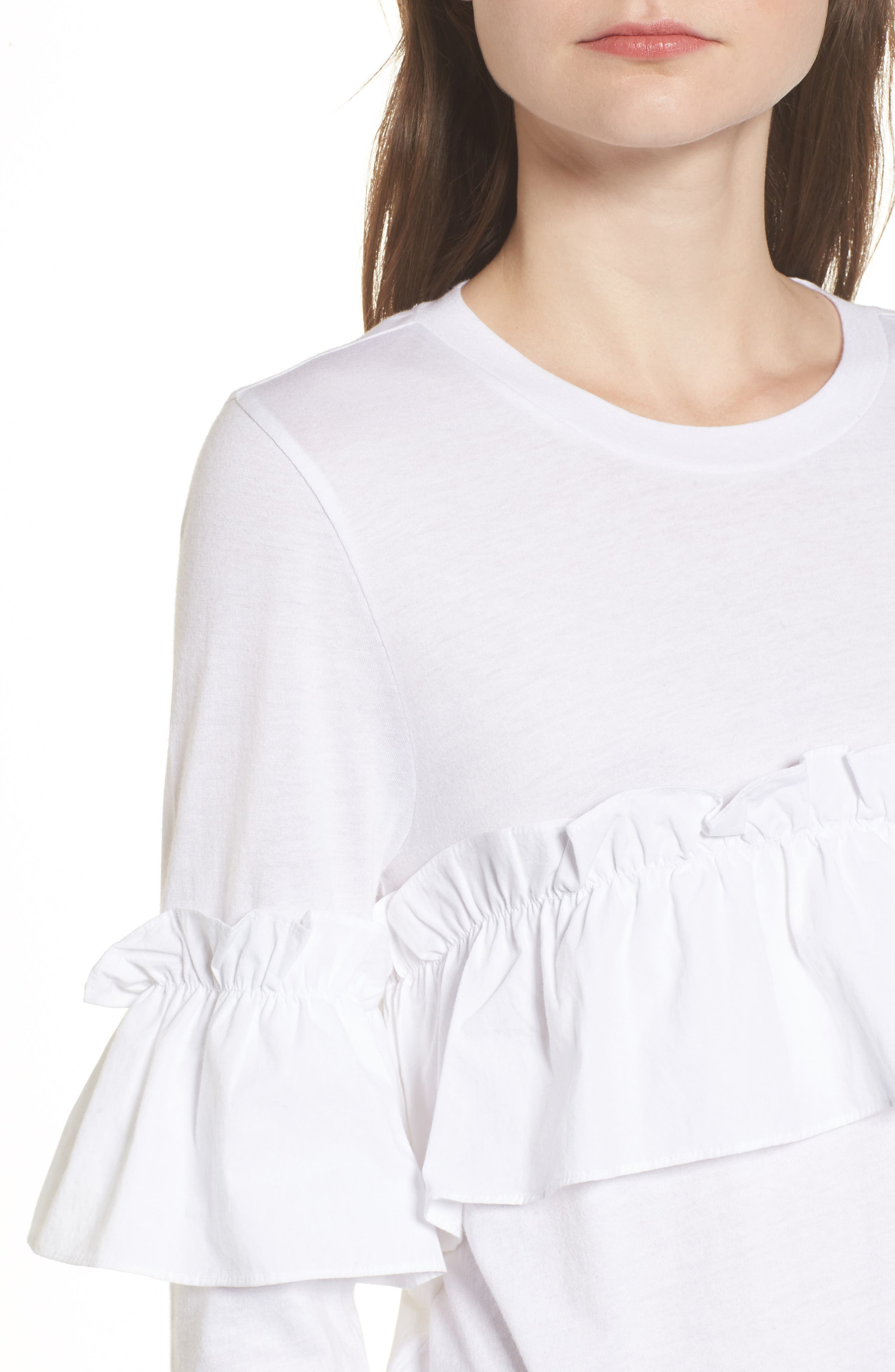 Ruffle Tee,                             Alternate thumbnail 4, color,                             White