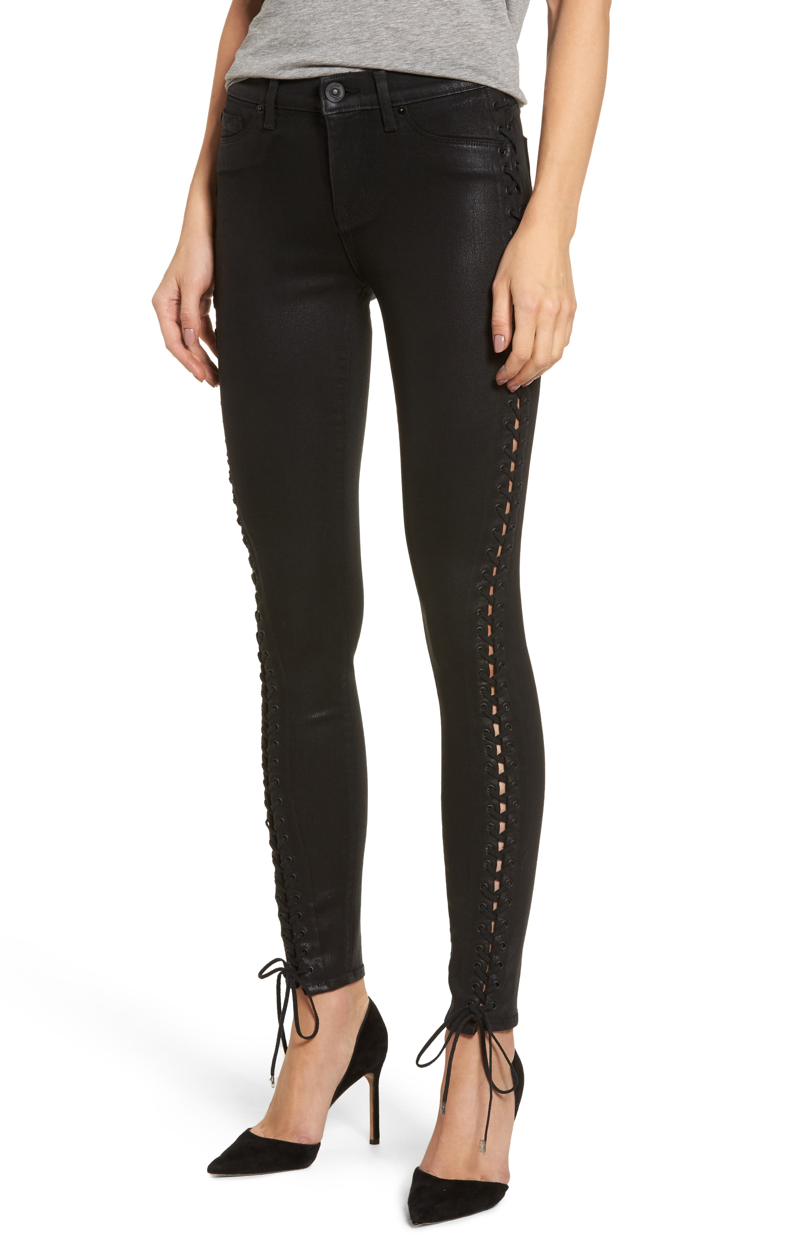 Stevie Lace-Up Skinny Jeans,                         Main,                         color, Black Coated