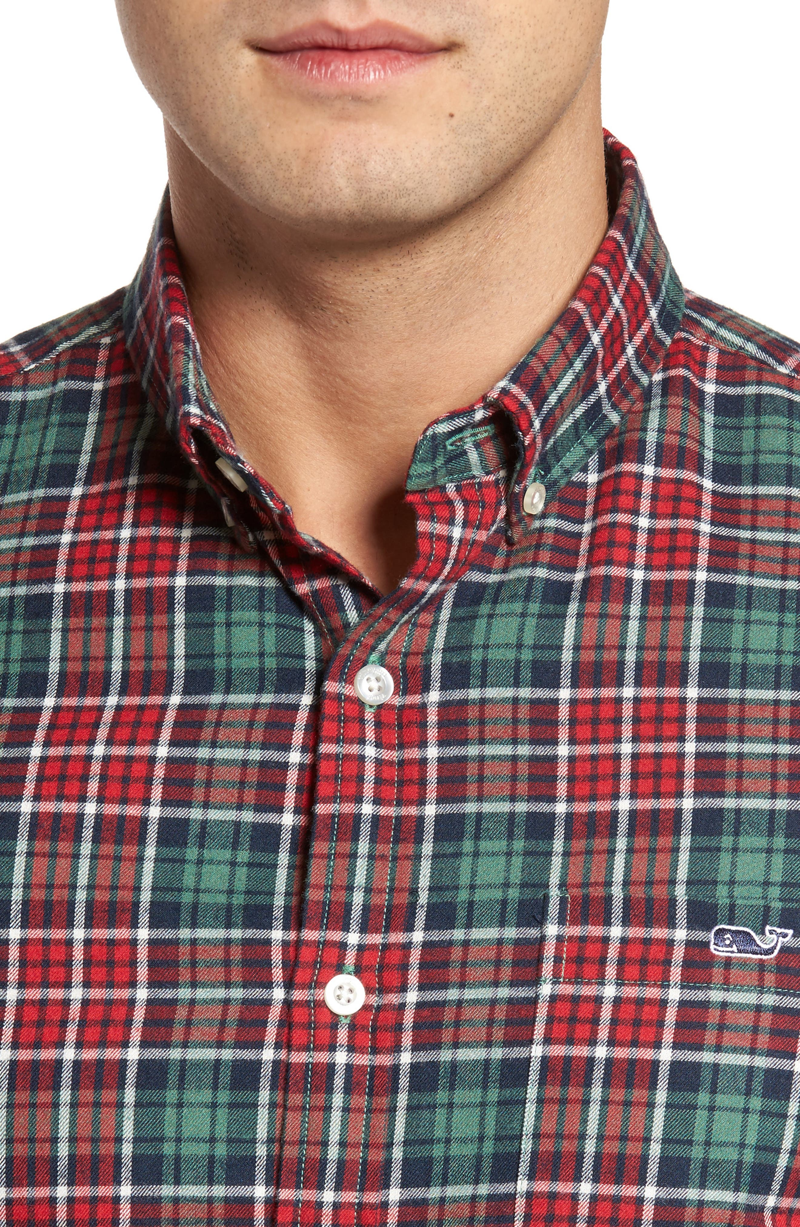 Tucker Bold Point Slim Fit Plaid Sport Shirt,                             Alternate thumbnail 4, color,                             Charleston Green