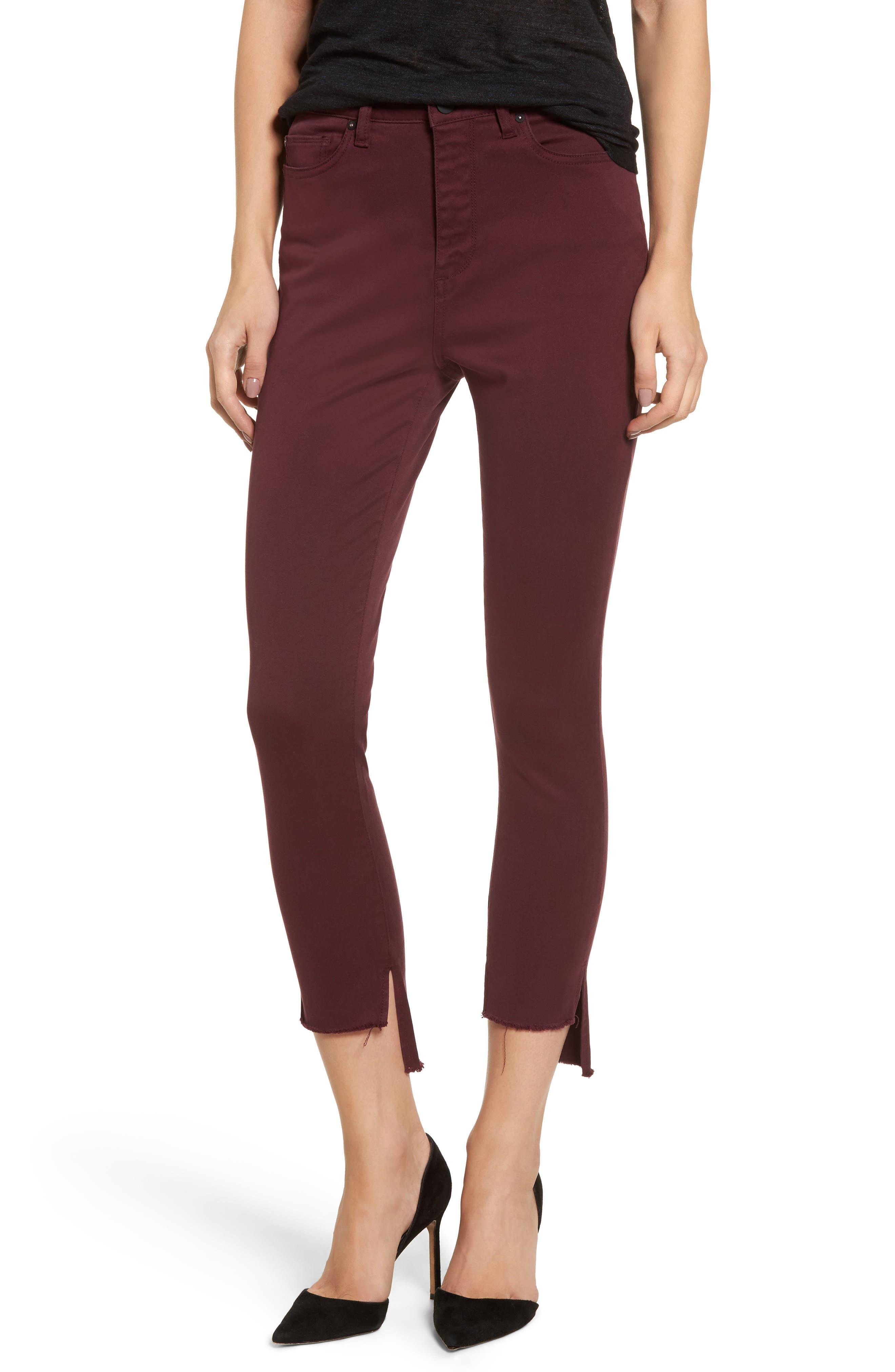 DL1961 Chrissy Trimstone High Waist Step Hem Skinny Jeans (Rouge Noir)