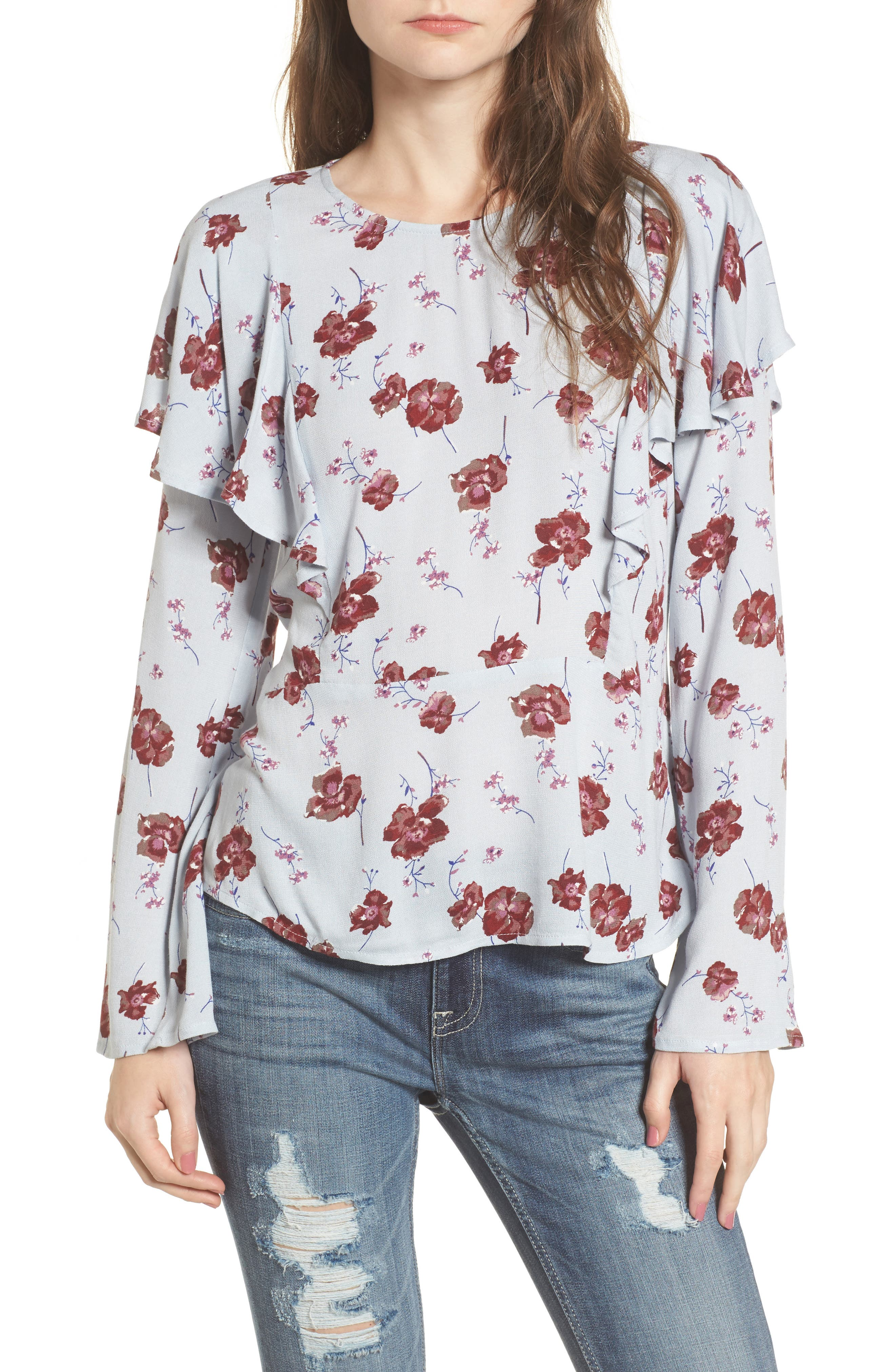 Floral Print Ruffle Blouse,                         Main,                         color, Blue Pearl Meadow Floral