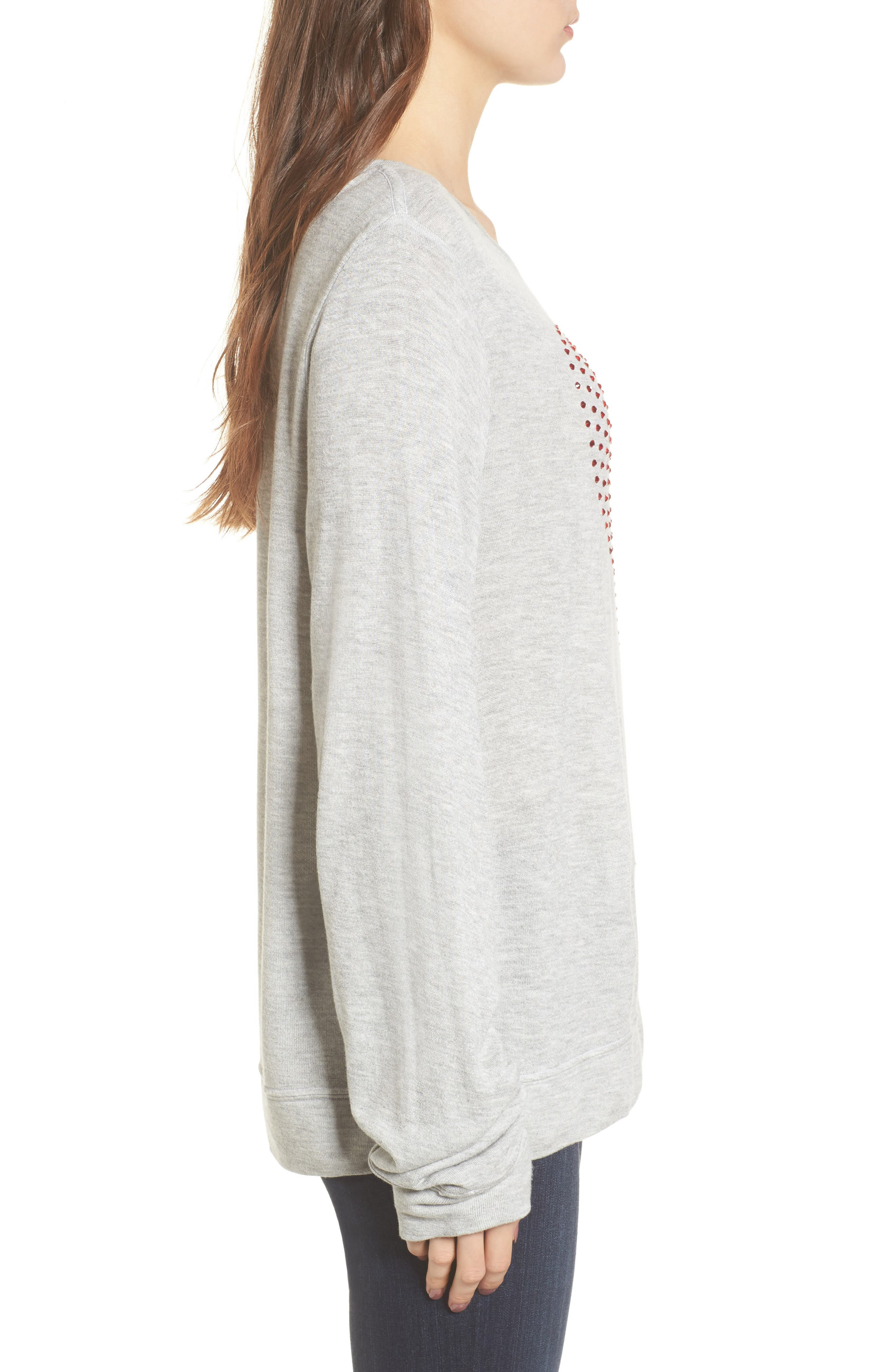Glitz Heart Baggy Beach Pullover,                             Alternate thumbnail 3, color,                             Heather