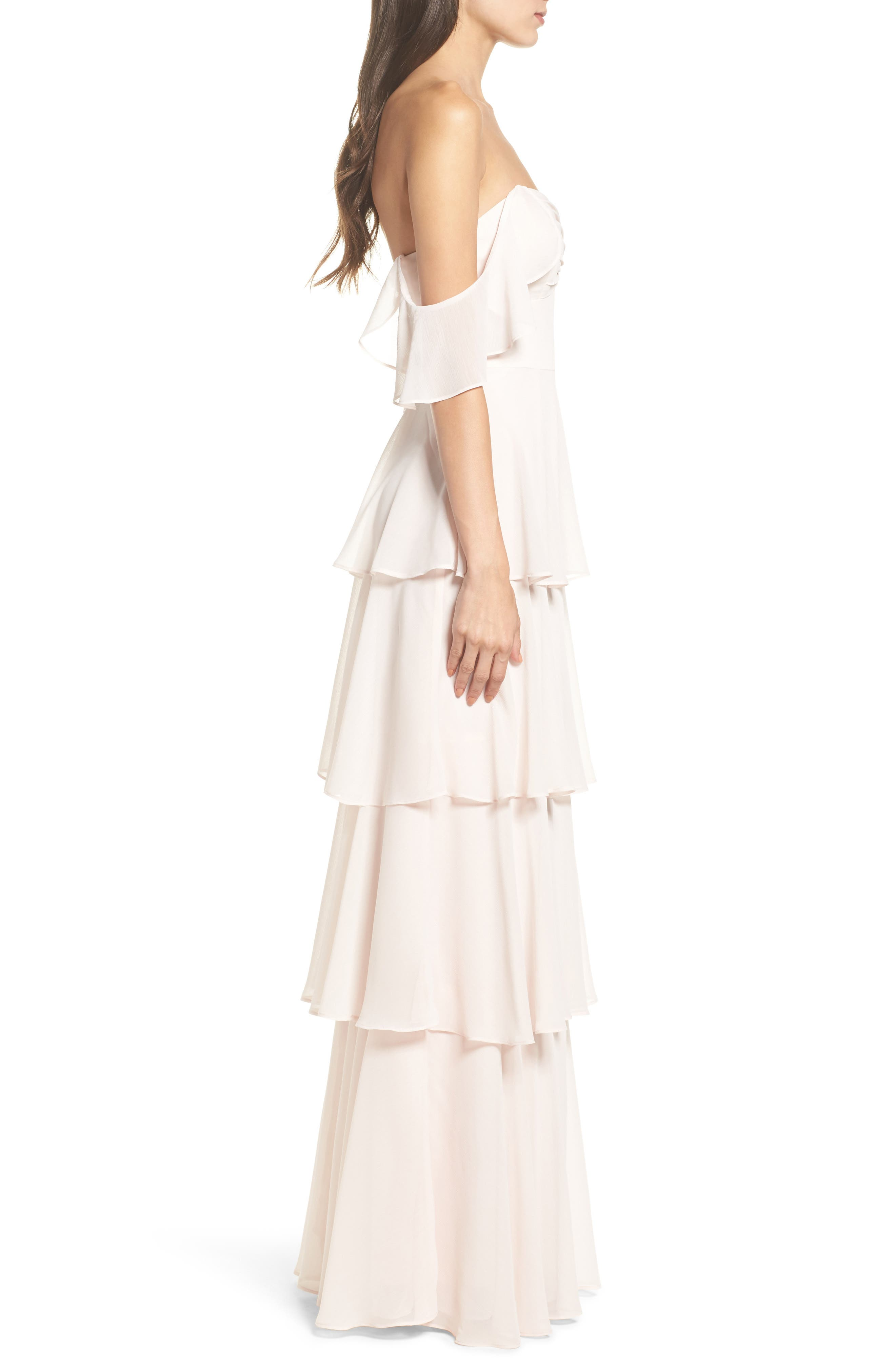 Abby Off the Shoulder Tiered Dress,                             Alternate thumbnail 3, color,                             Powder Blush