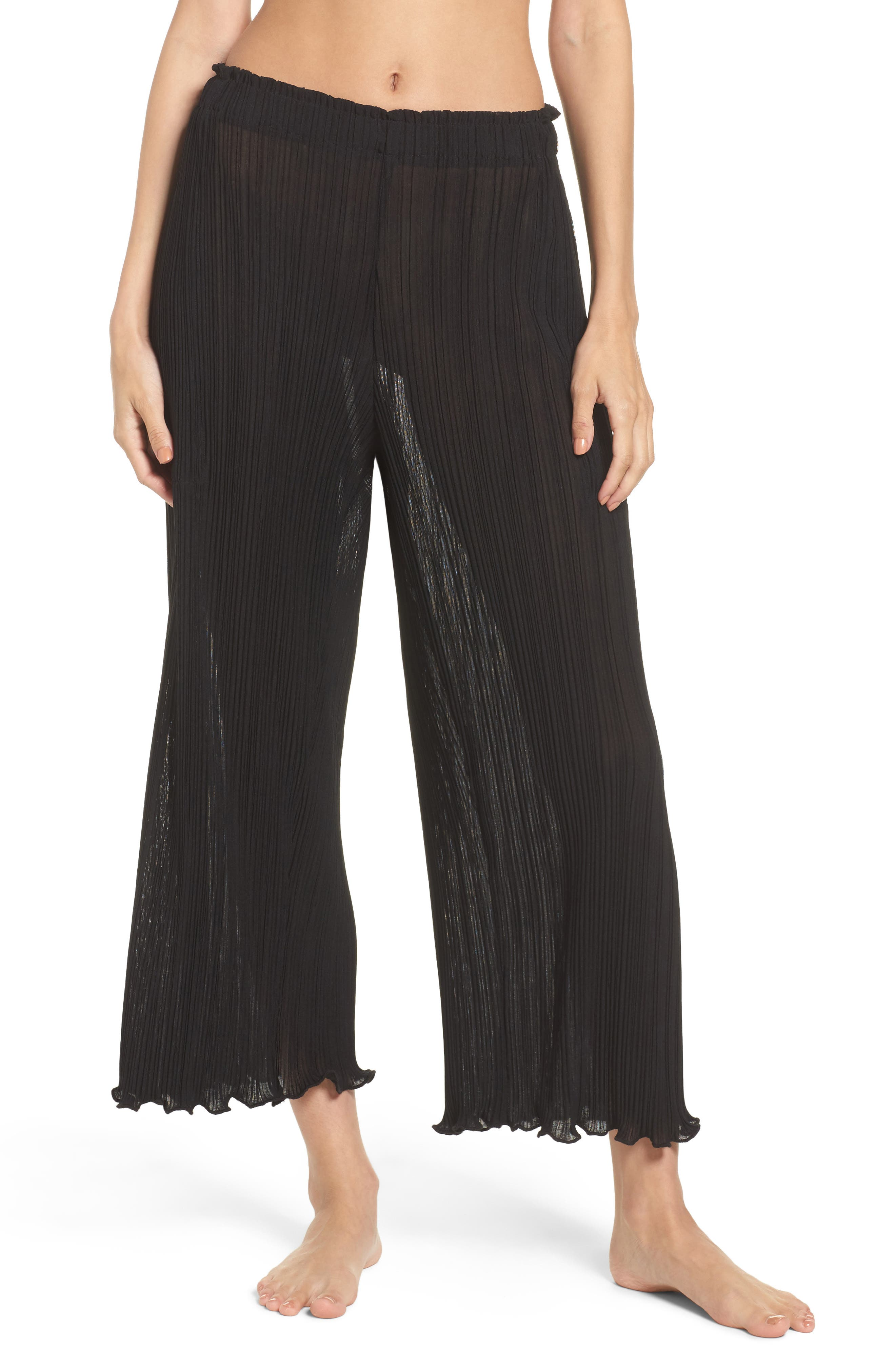 LACAUSA Mika Pleated Lounge Pants in Tar