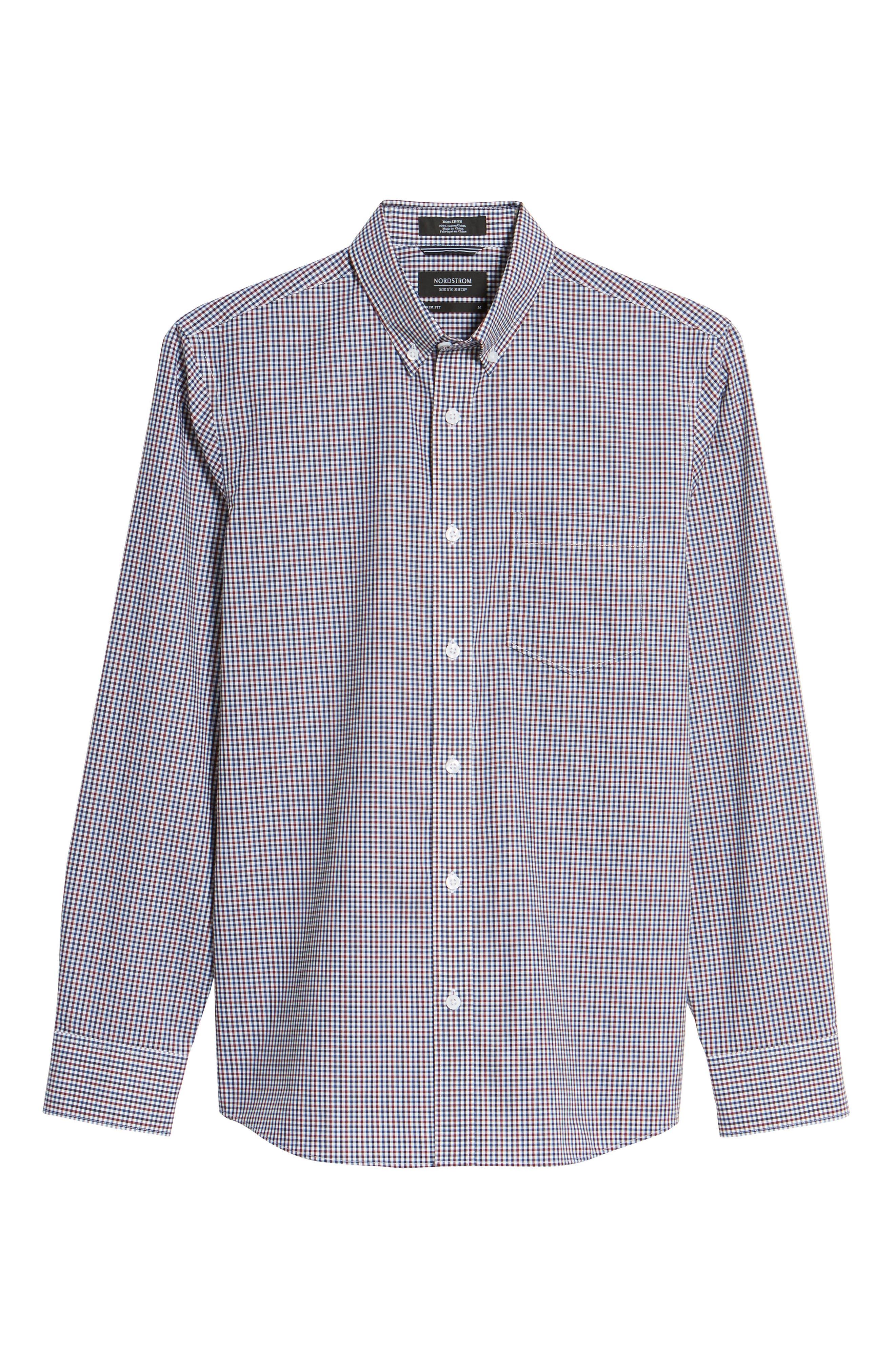 Spade Trim Fit Non-Iron Mini Check Sport Shirt,                             Alternate thumbnail 6, color,                             White Red Mini Check