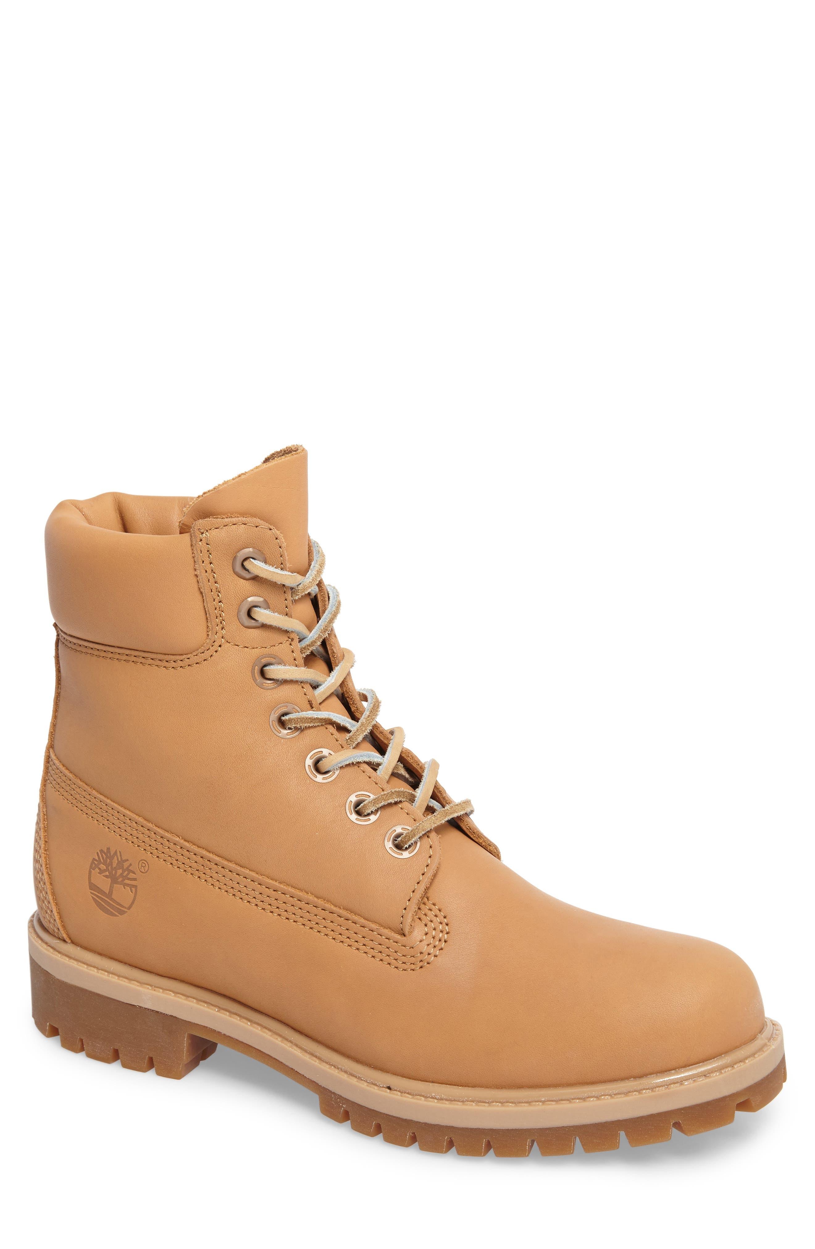 Premium Waterproof Plain Toe Boot,                         Main,                         color, Natural Leather