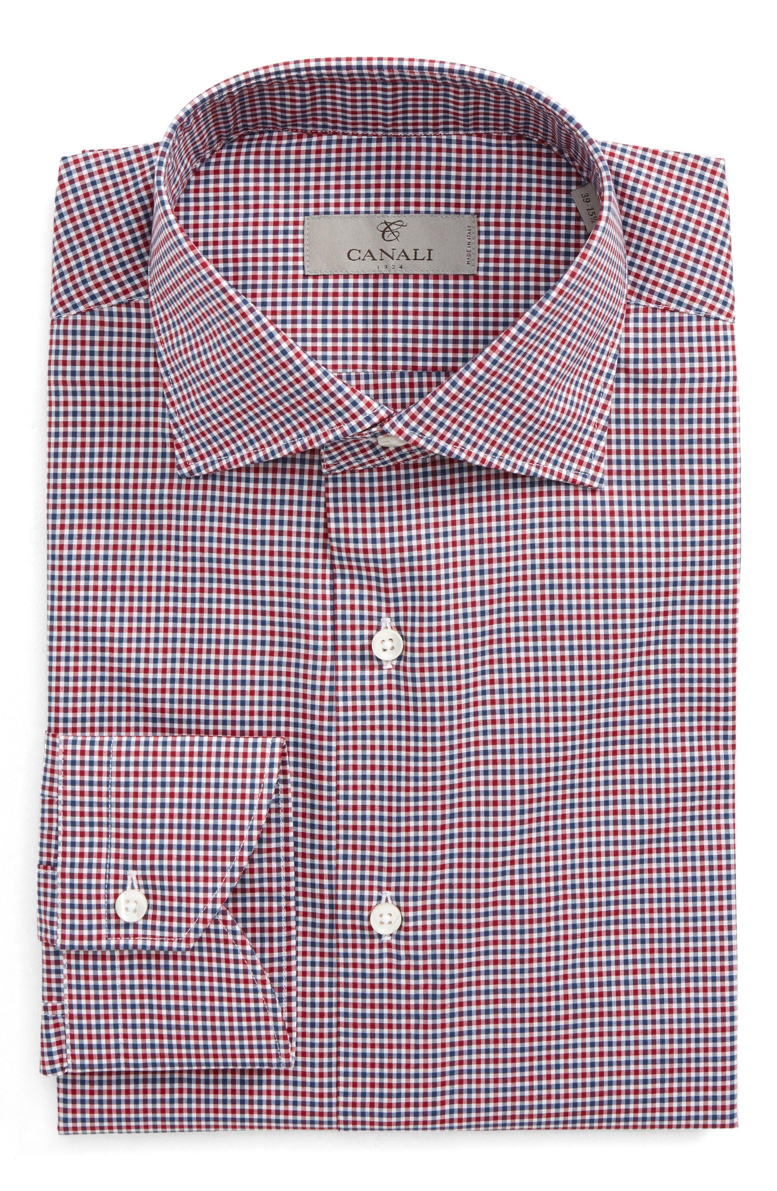 Regular Fit Dress Shirt,                             Main thumbnail 1, color,                             Bright Red/ Blue