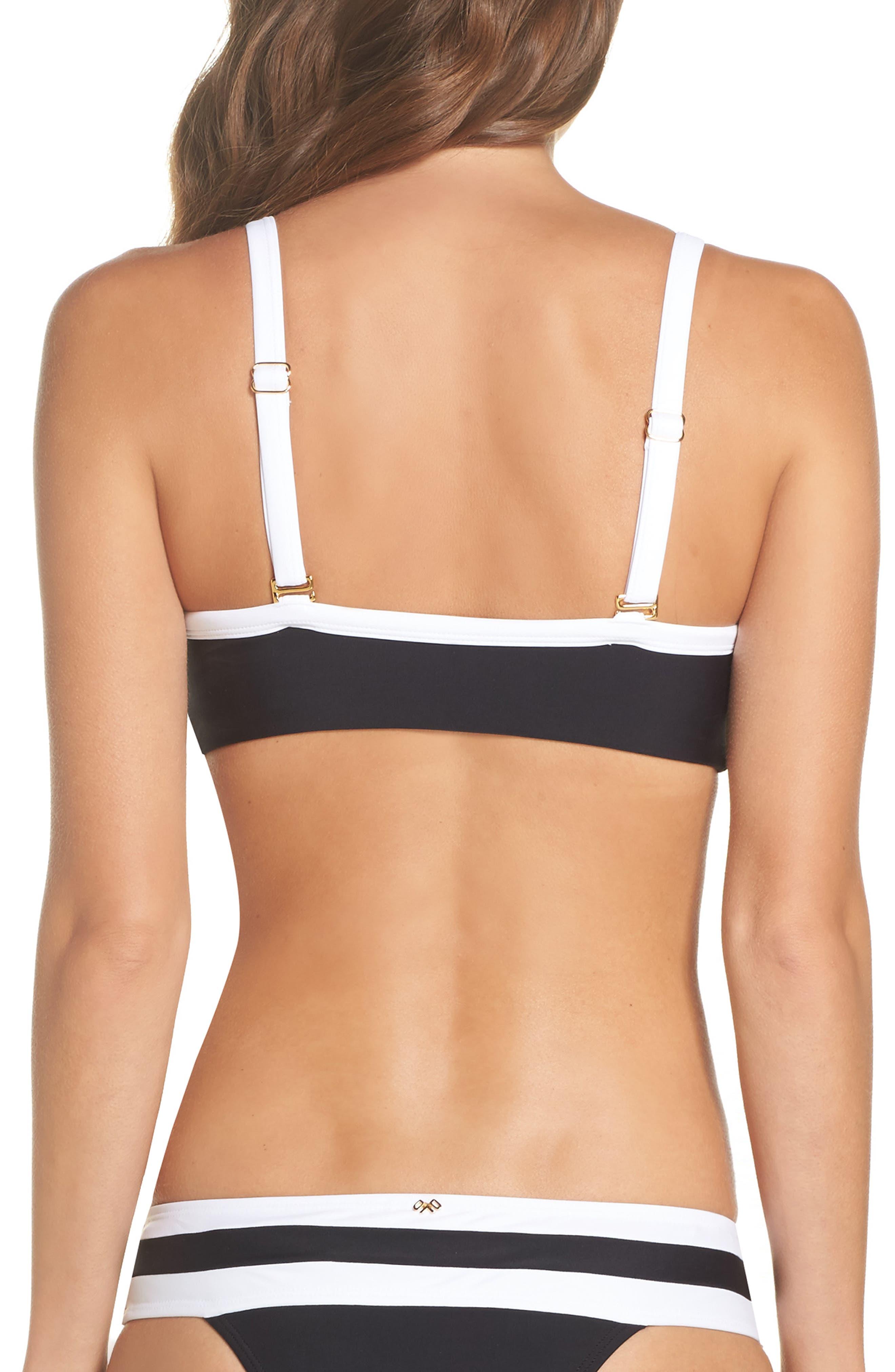 Color Block Halter Bikini Top,                             Alternate thumbnail 2, color,                             Midnight