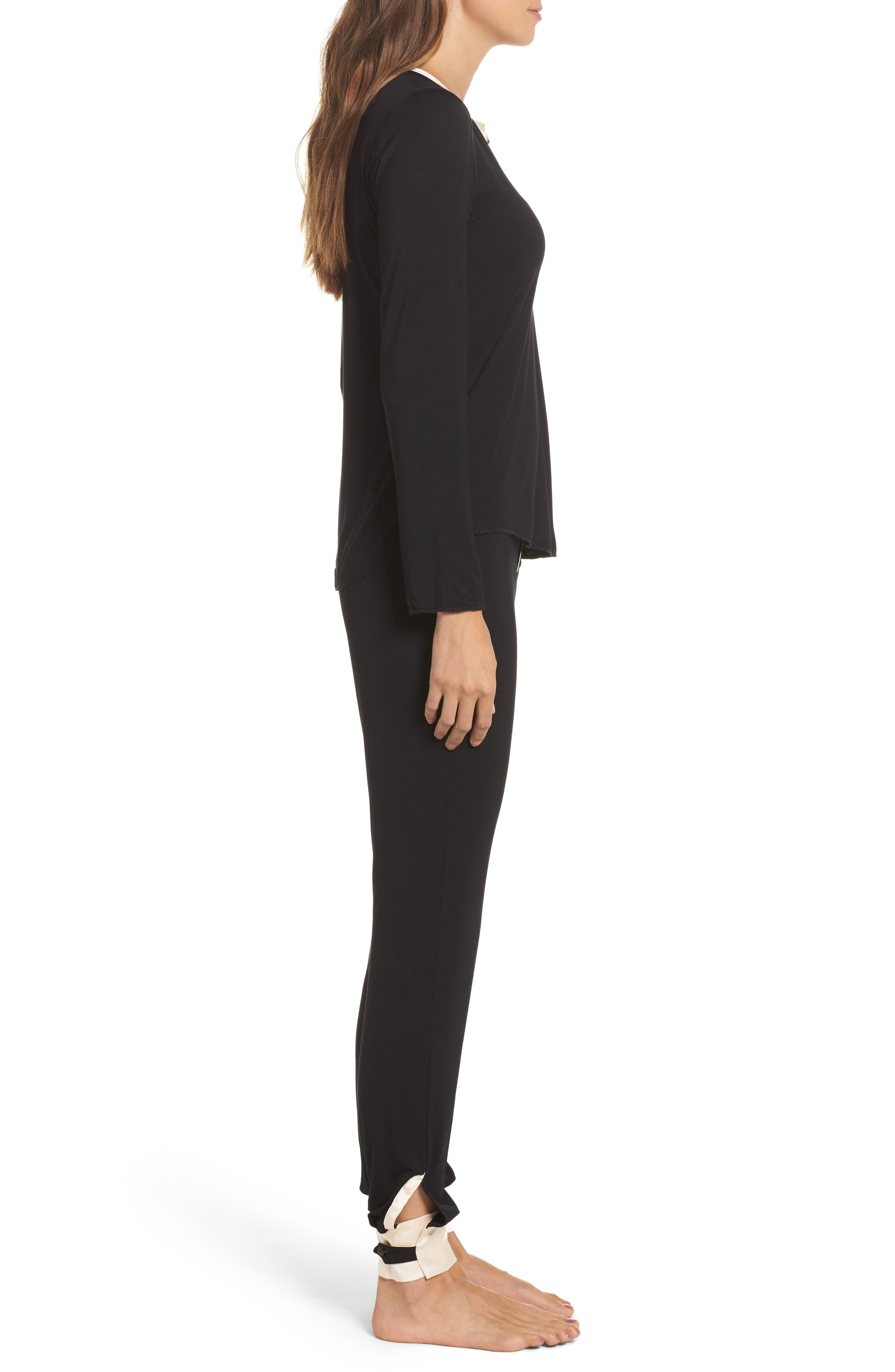 Cara Modal Knit Long Pajamas,                             Alternate thumbnail 3, color,                             Noir/ Vanilla