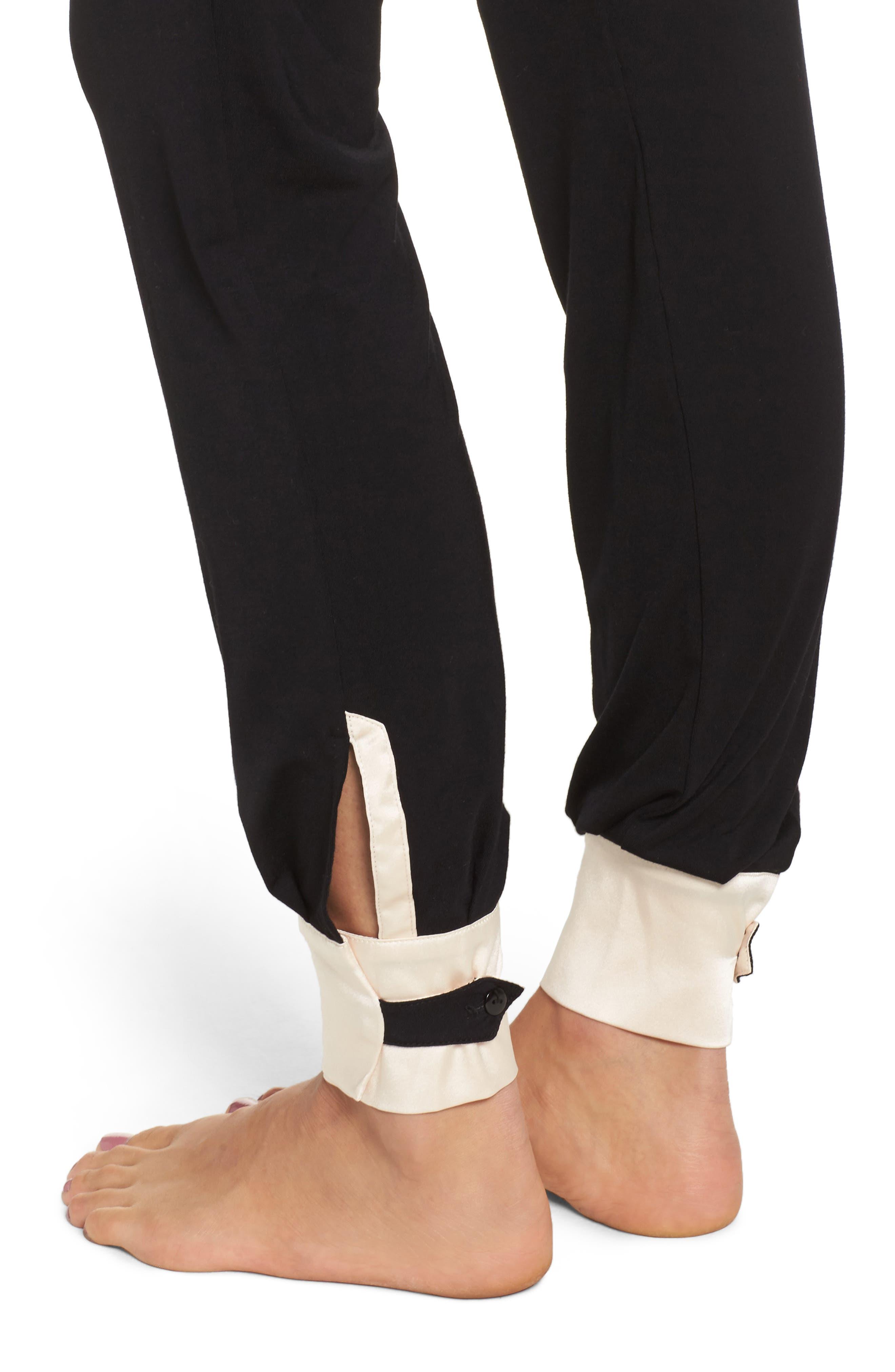 Cara Modal Knit Long Pajamas,                             Alternate thumbnail 5, color,                             Noir/ Vanilla