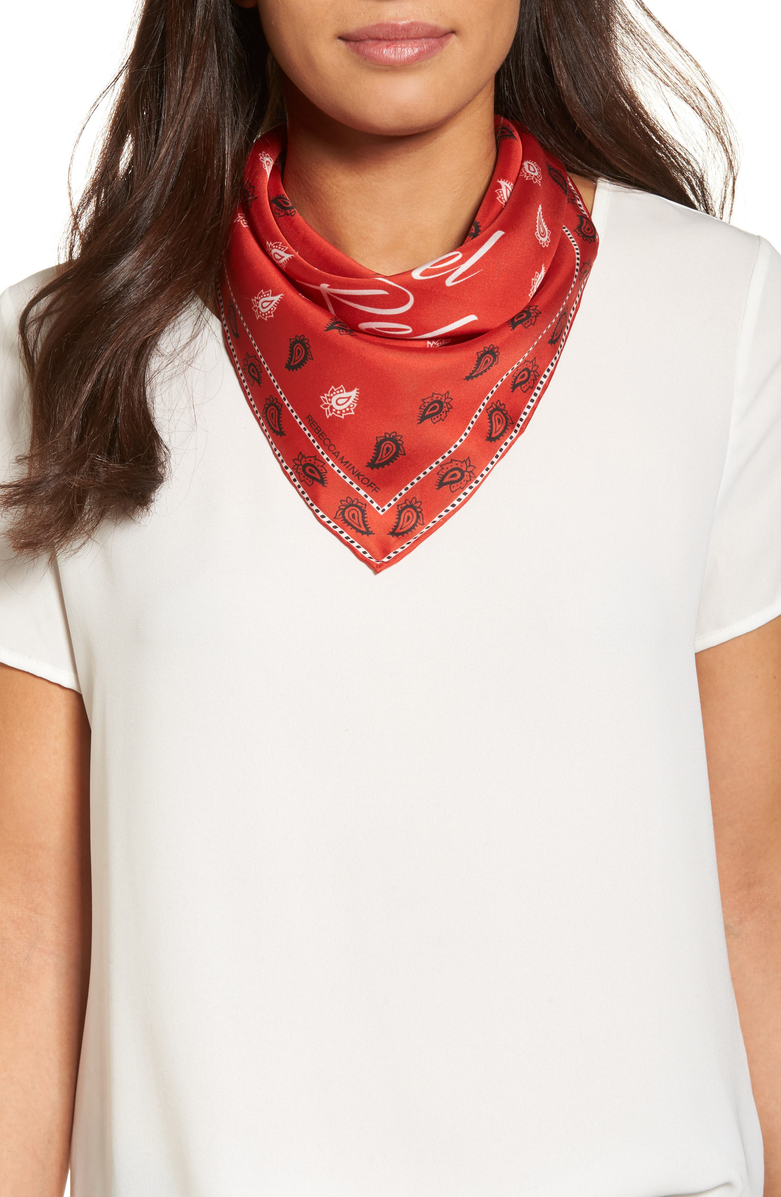Vertical Paisley Silk Bandana,                         Main,                         color, Poppy Red