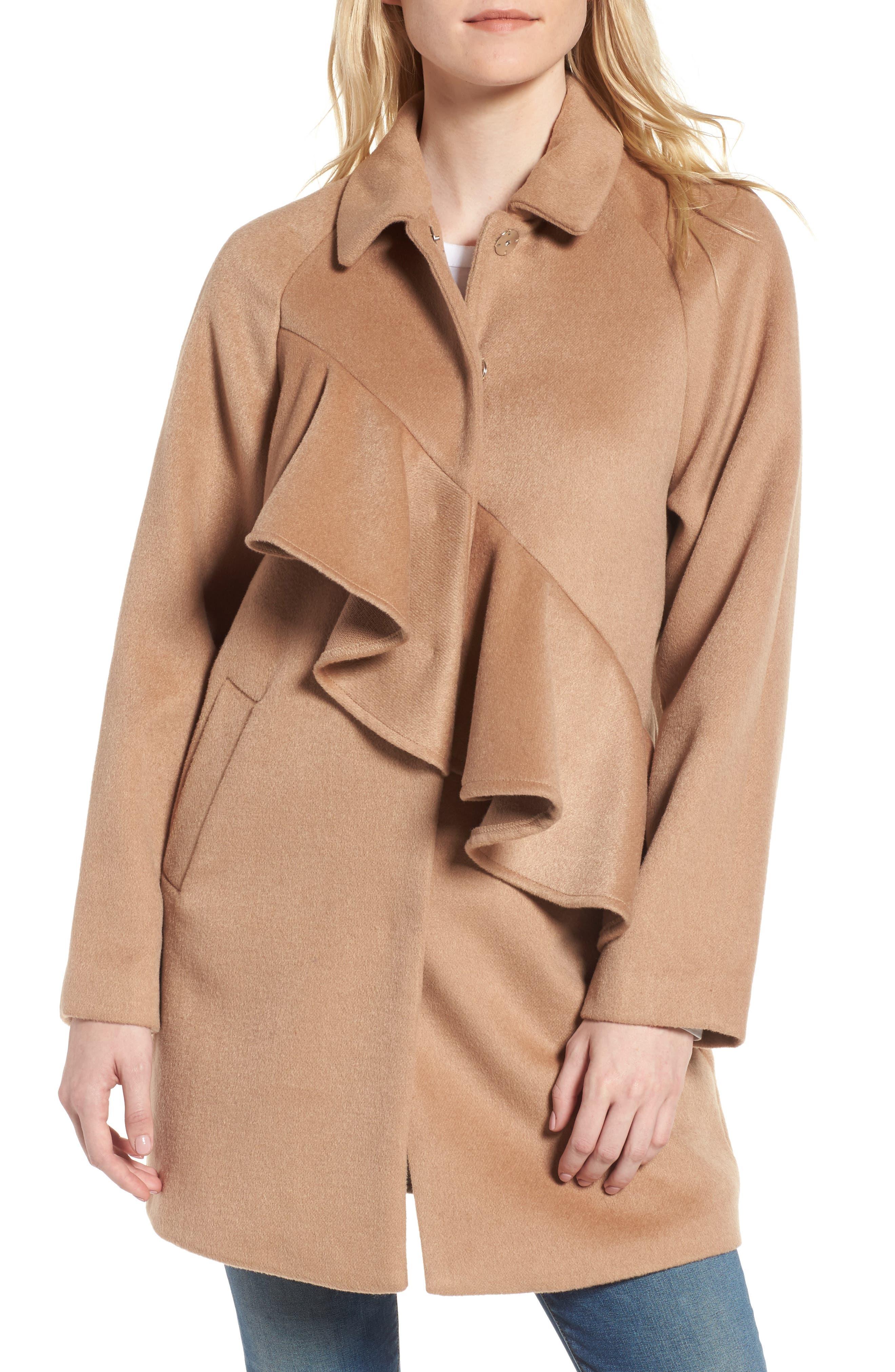 Frill Front Coat,                         Main,                         color, Tan