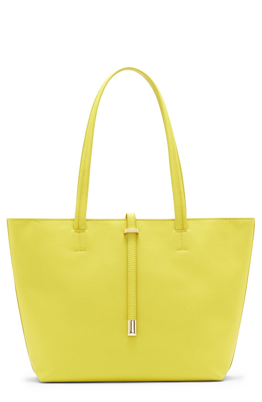 'Leila - Small' Leather Tote,                             Main thumbnail 1, color,                             Limoncello