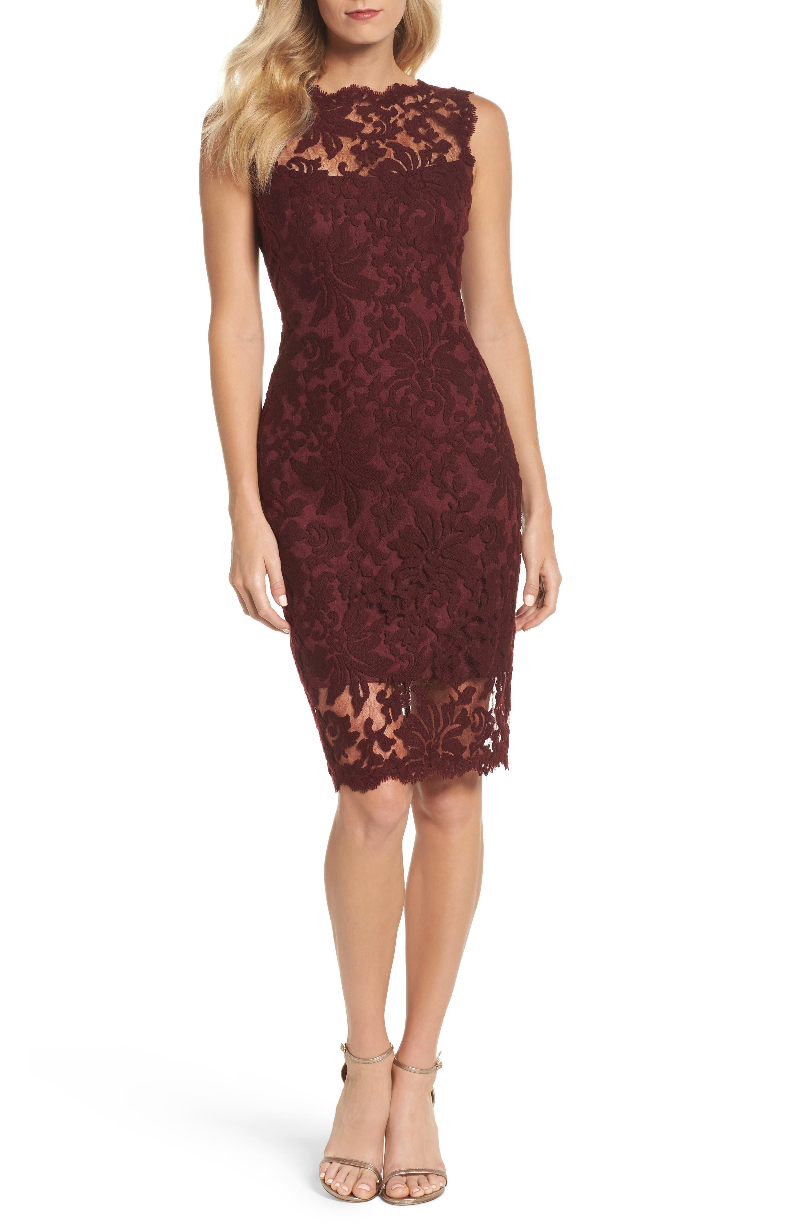 Embroidered Lace Sheath Dress,                             Main thumbnail 1, color,                             Auburn