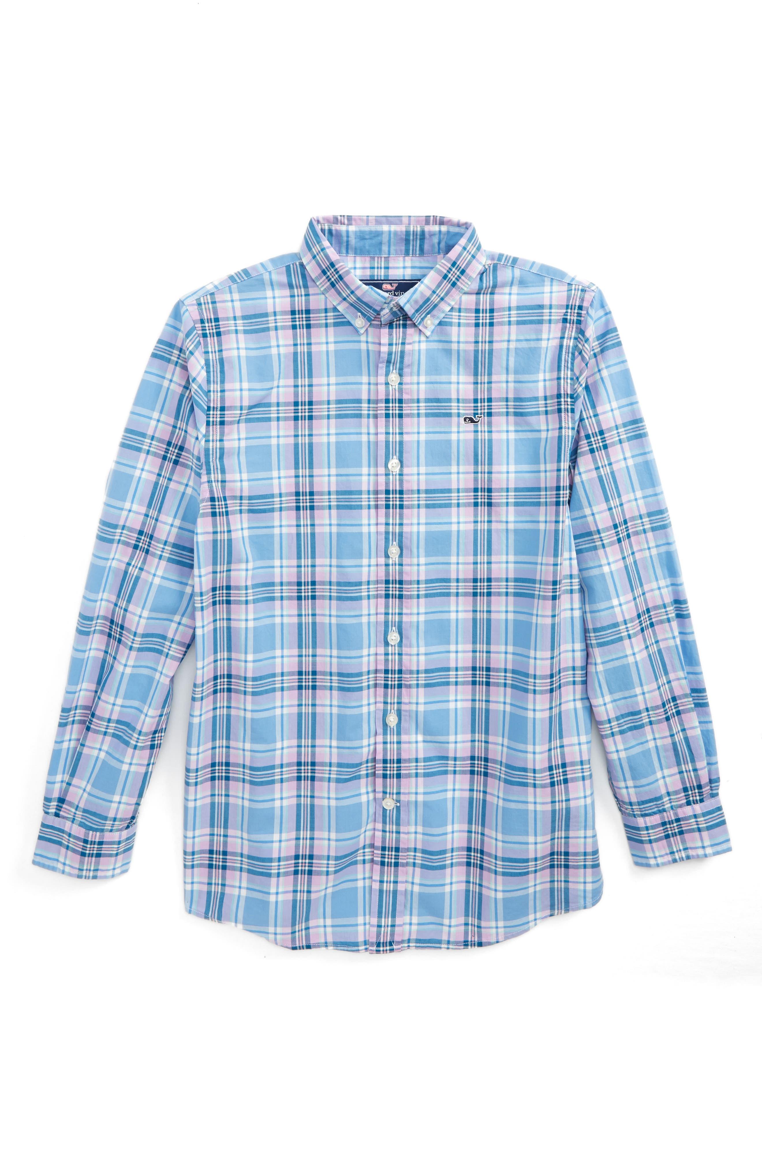 Ocean Walk Plaid Shirt,                         Main,                         color, Crocus