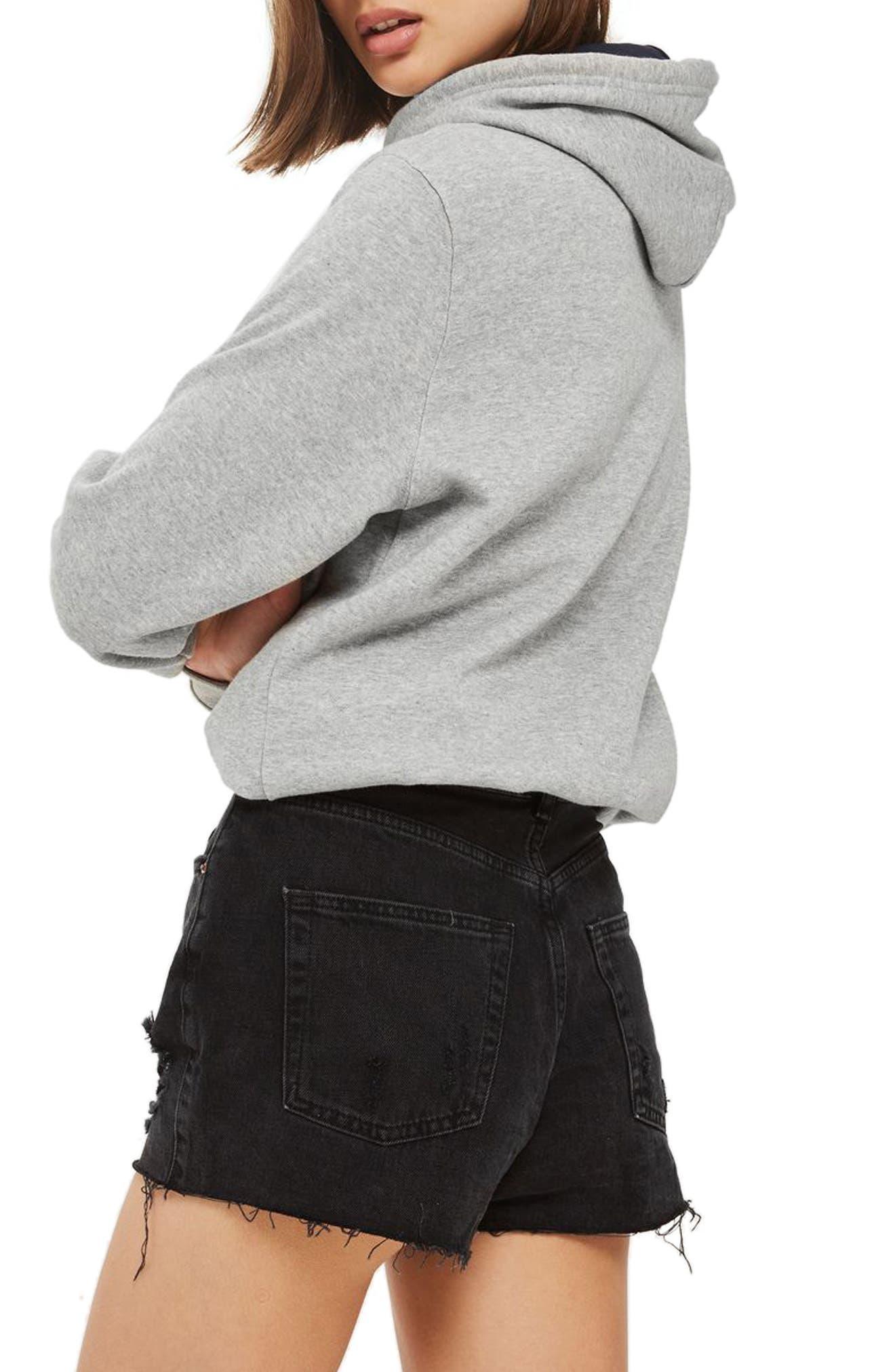 Ripped Mom Shorts,                             Alternate thumbnail 3, color,                             Washed Black