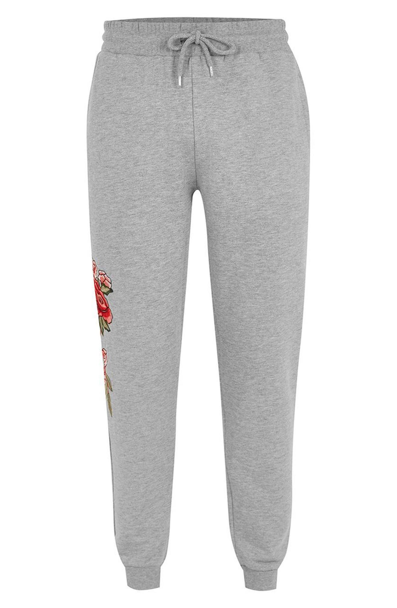 Rose Embroidered Jogger Pants,                             Alternate thumbnail 4, color,                             Grey