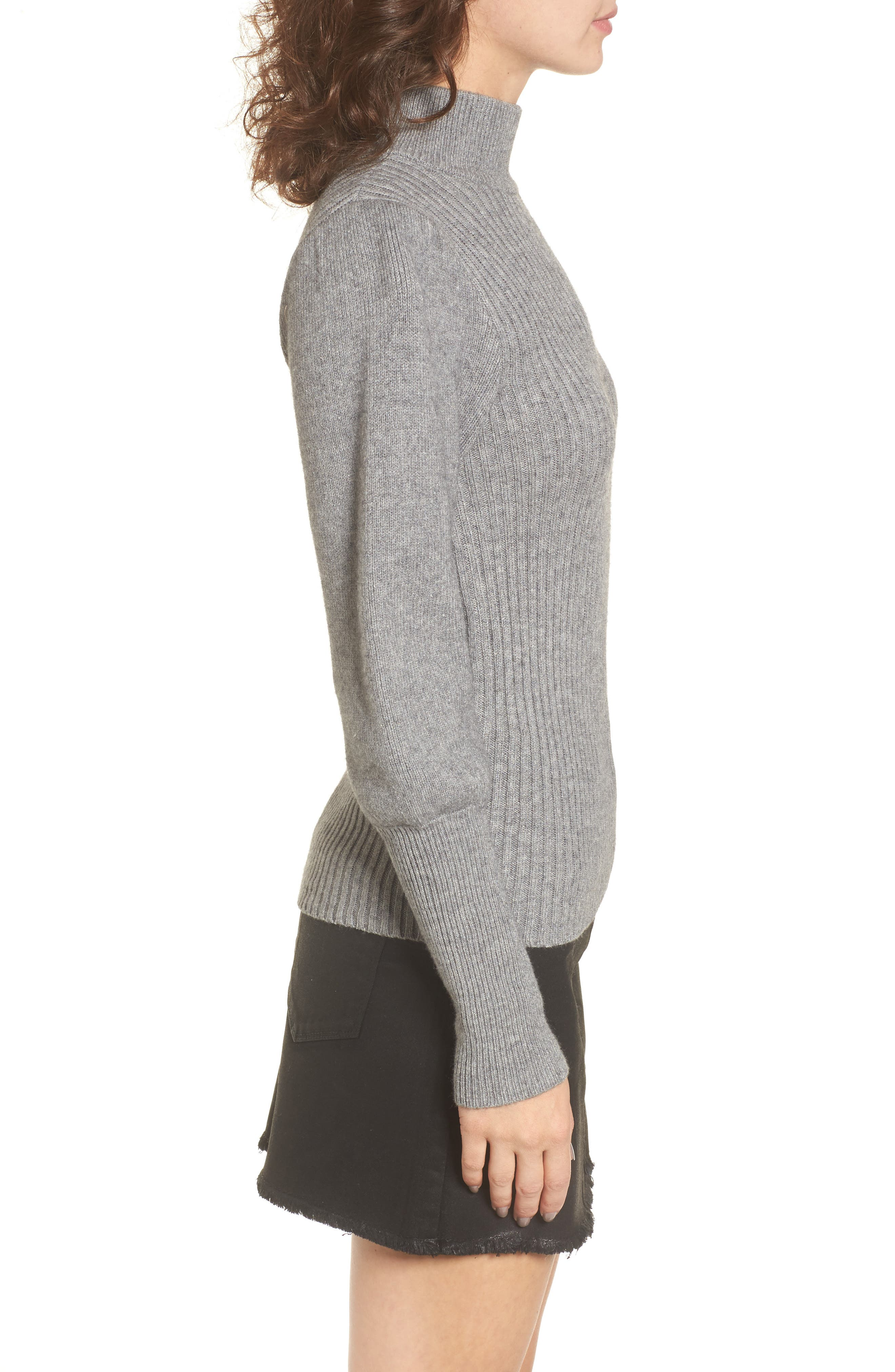 Puff Sleeve Sweater,                             Alternate thumbnail 3, color,                             Grey