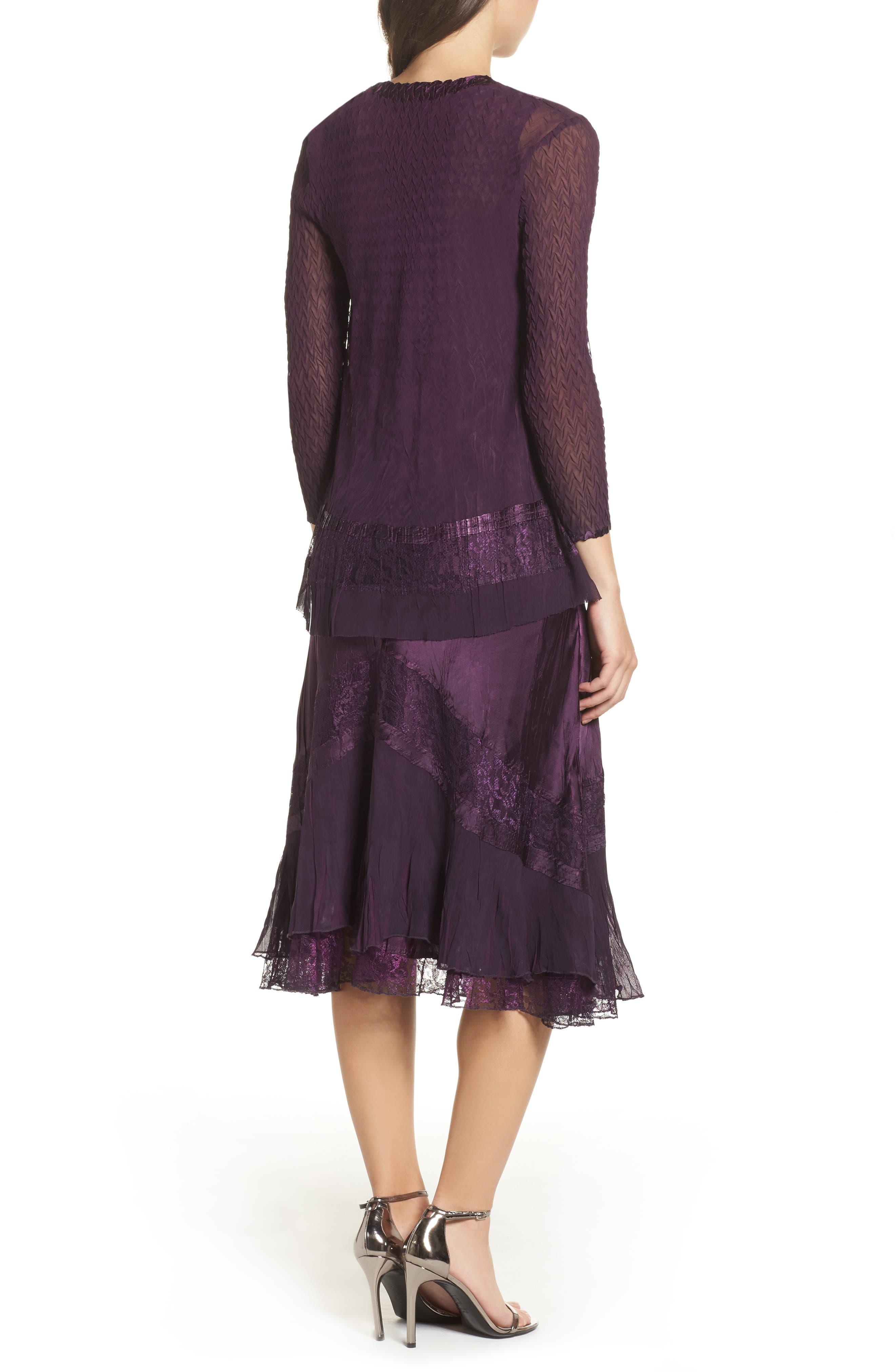 Mixed Media A-Line Dress & Jacket,                             Alternate thumbnail 3, color,                             Aubergine Night Ombre