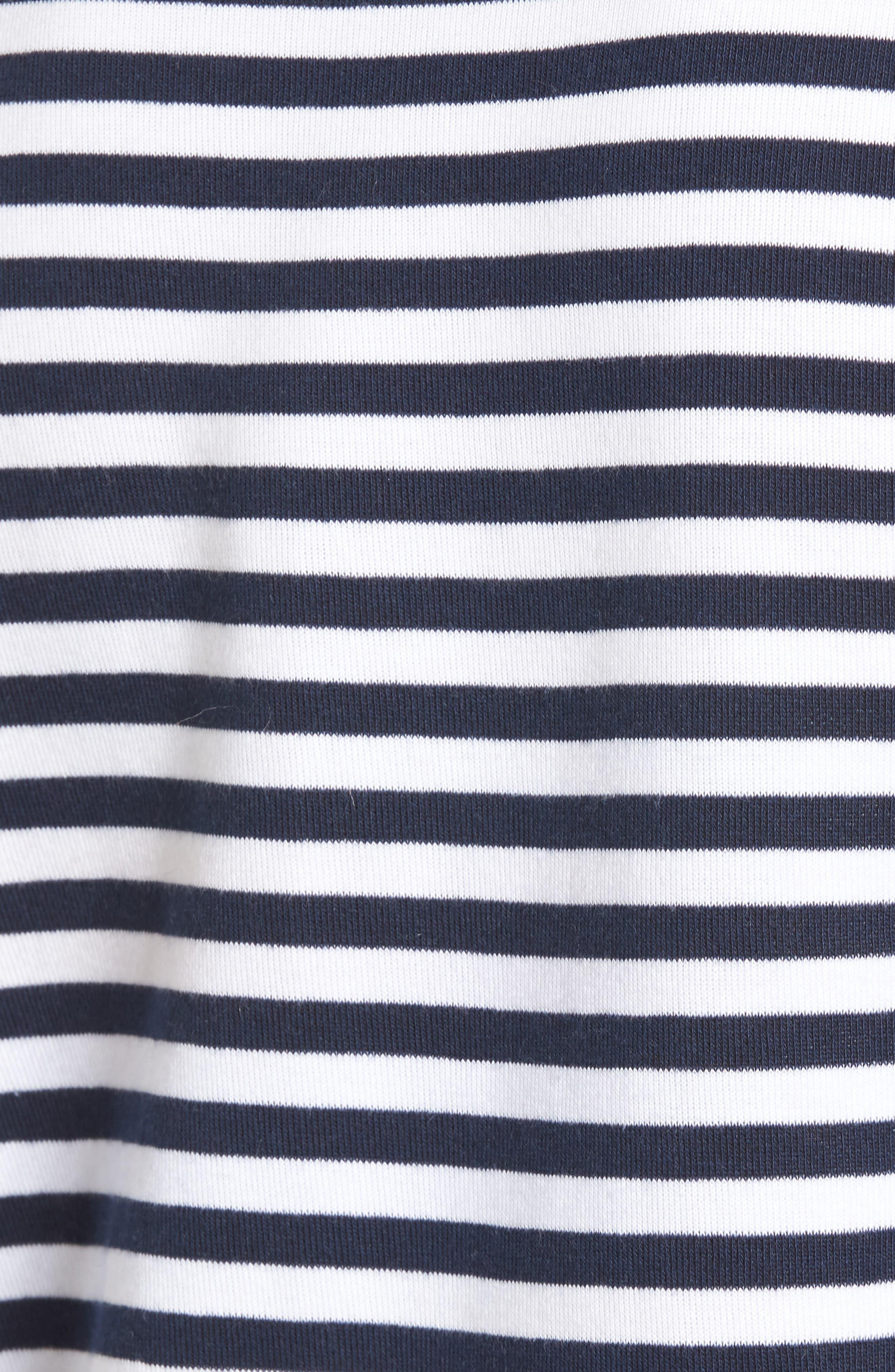 Poplin Tie Cuff Knit Top,                             Alternate thumbnail 5, color,                             Navy- White Stripe