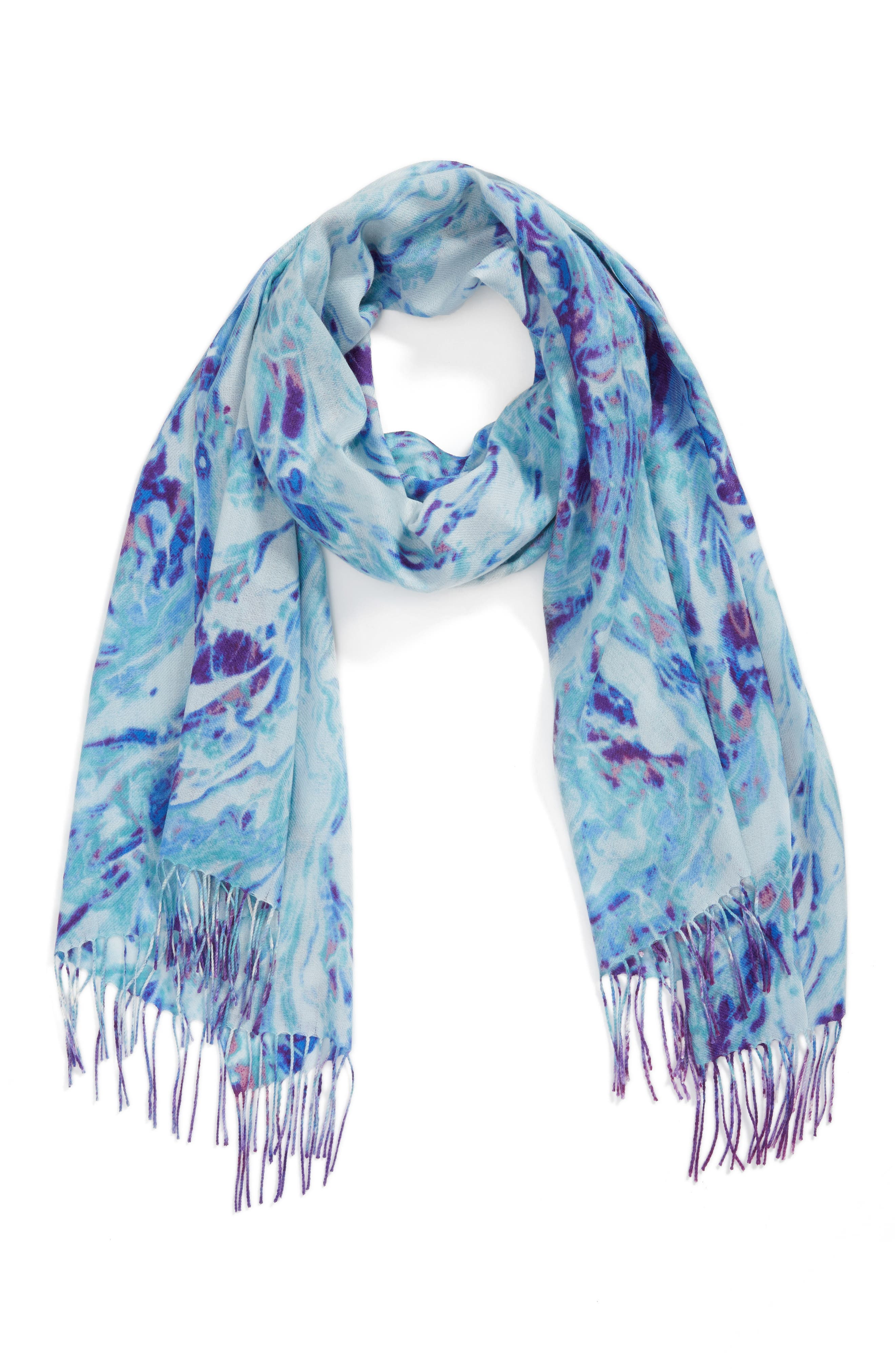 Marble Tissue Wool & Cashmere Scarf,                         Main,                         color, Blue Combo