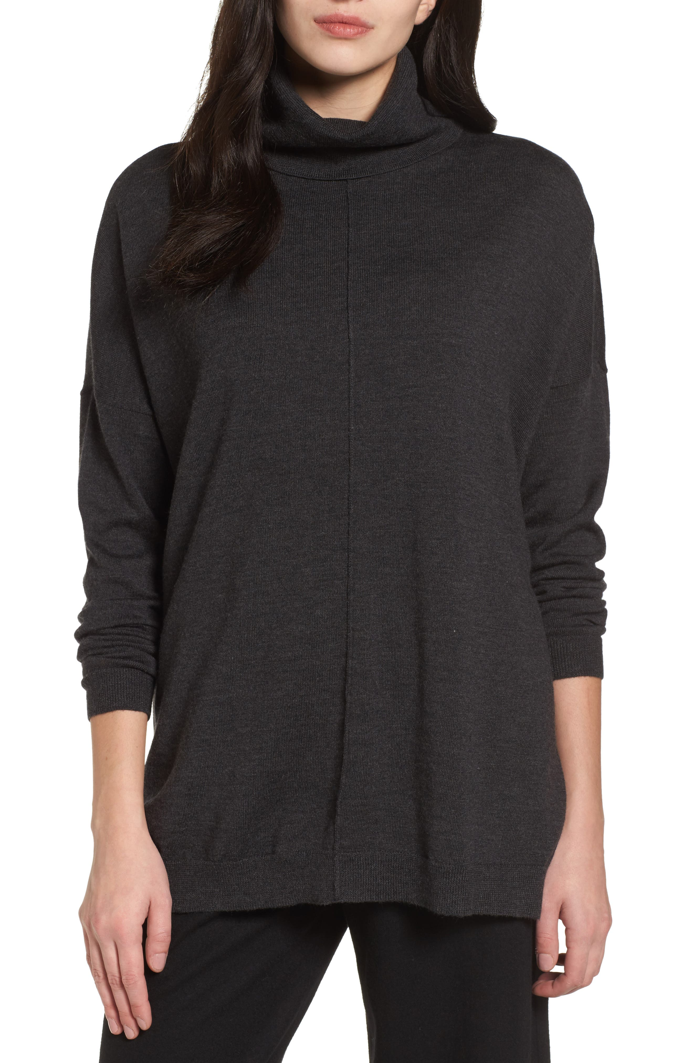 Eileen Fisher Merino Wool Boxy Turtleneck Sweater (Regular & Petite)
