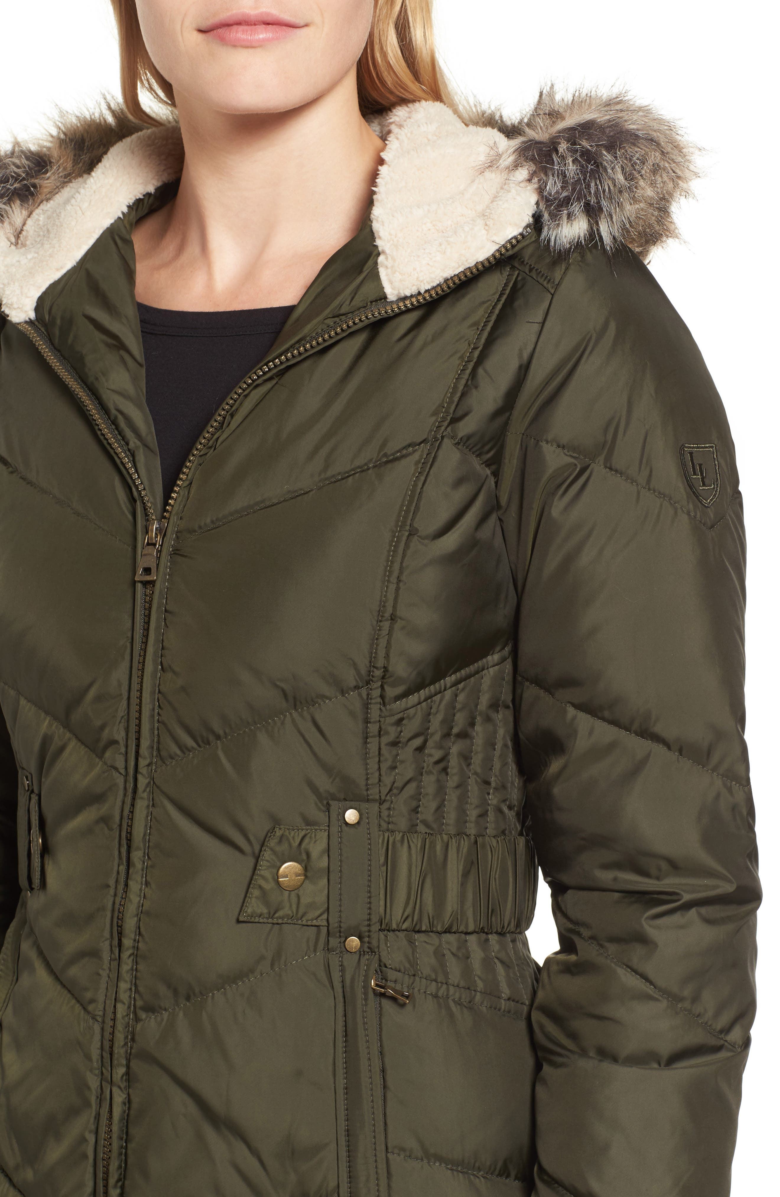 Hooded Down & Feather Fill Jacket with Faux Fur Trim,                             Alternate thumbnail 4, color,                             Loden